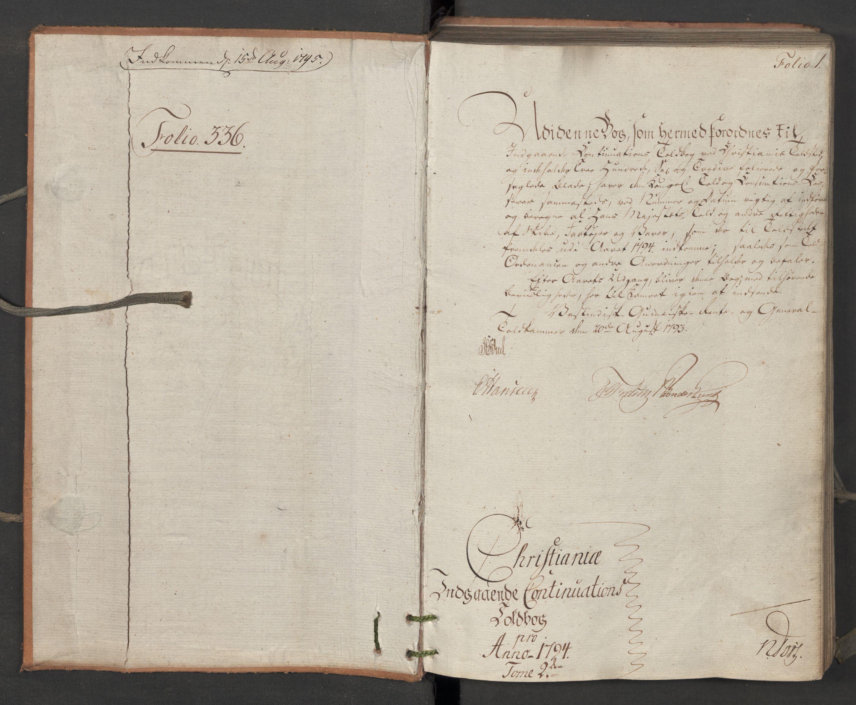 RA, Generaltollkammeret, tollregnskaper, R06/L0195: Tollregnskaper Kristiania, 1794