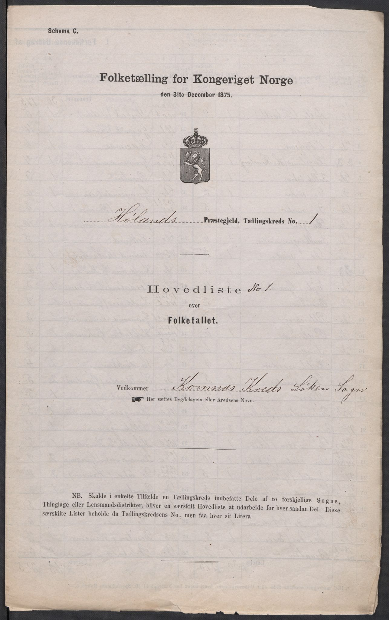 RA, Folketelling 1875 for 0221P Høland prestegjeld, 1875, s. 1