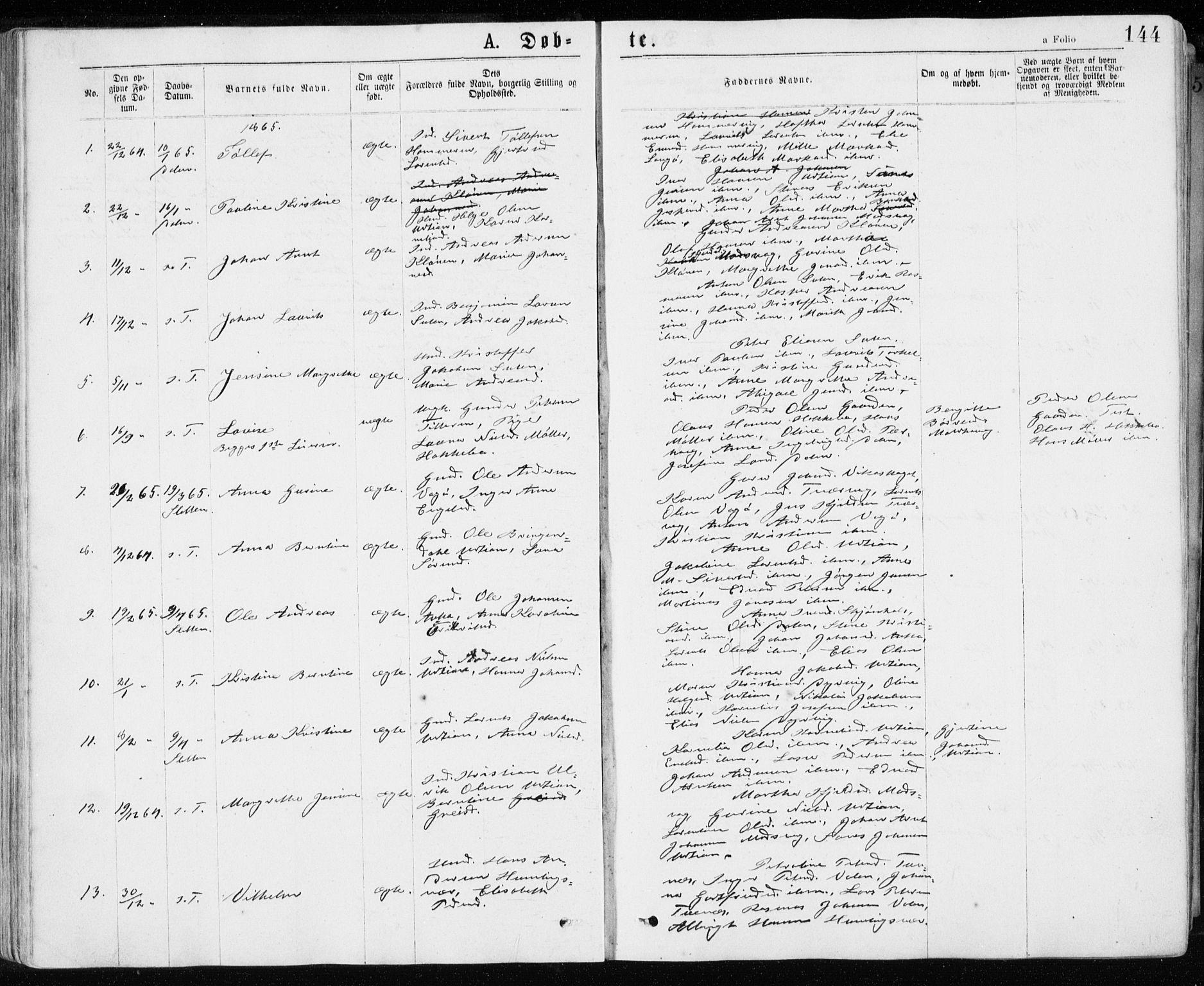 SAT, Ministerialprotokoller, klokkerbøker og fødselsregistre - Sør-Trøndelag, 640/L0576: Ministerialbok nr. 640A01, 1846-1876, s. 144