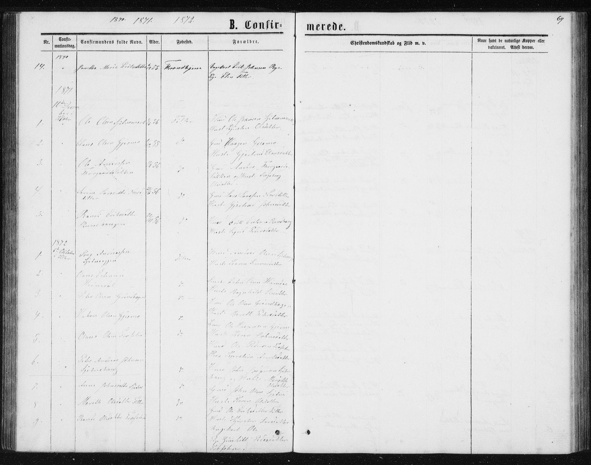 SAT, Ministerialprotokoller, klokkerbøker og fødselsregistre - Sør-Trøndelag, 621/L0459: Klokkerbok nr. 621C02, 1866-1895, s. 69