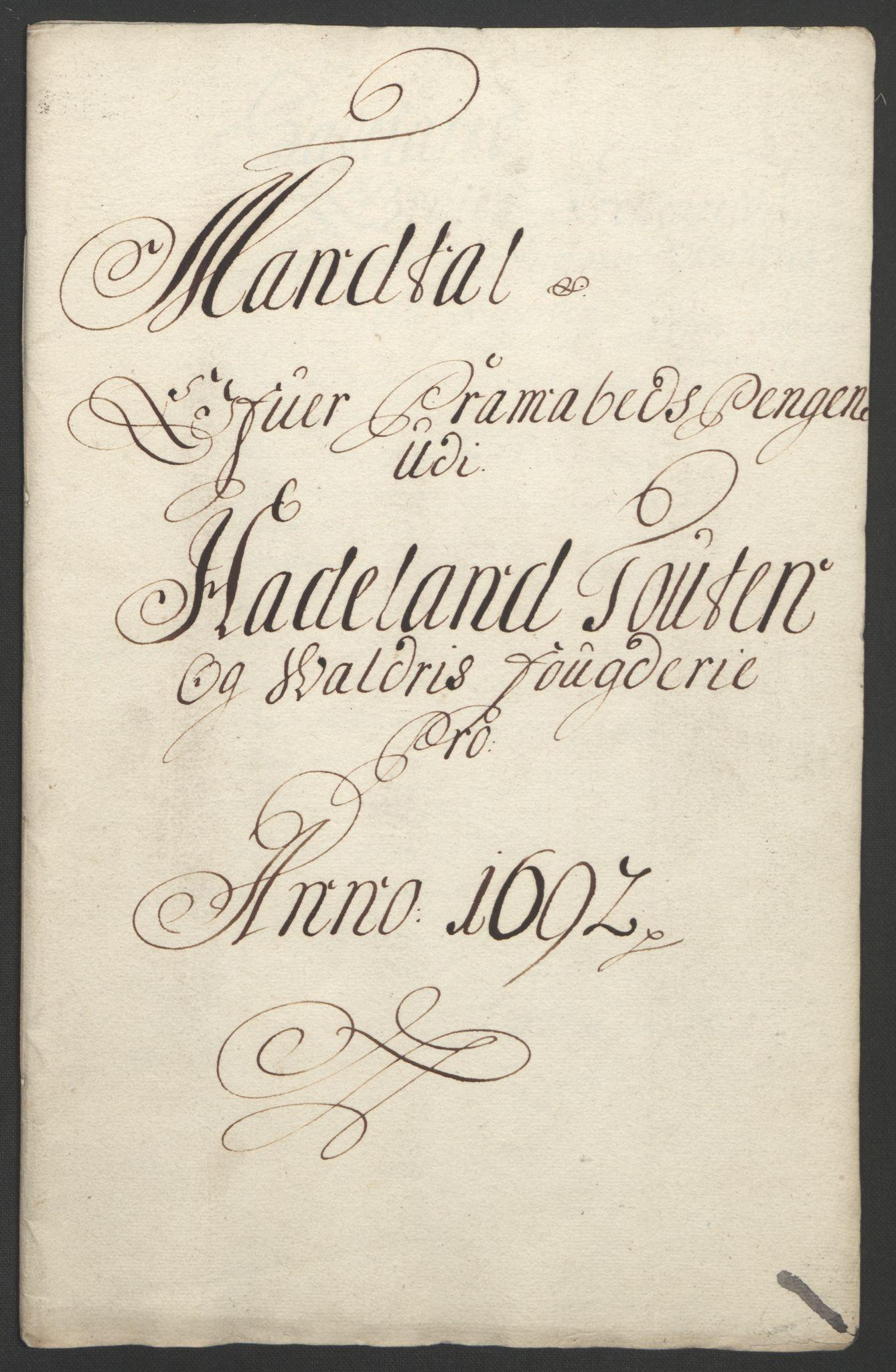 RA, Rentekammeret inntil 1814, Reviderte regnskaper, Fogderegnskap, R18/L1291: Fogderegnskap Hadeland, Toten og Valdres, 1692, s. 158
