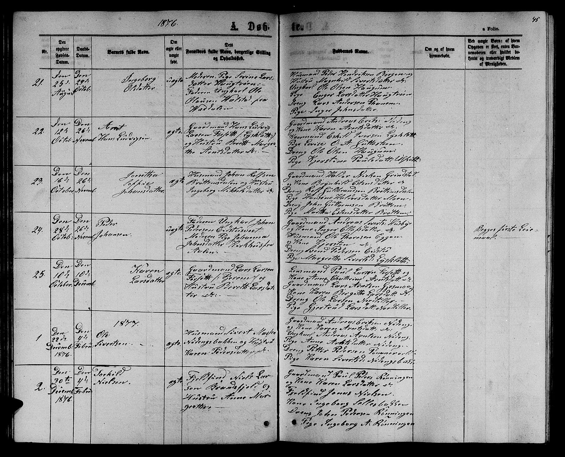 SAT, Ministerialprotokoller, klokkerbøker og fødselsregistre - Sør-Trøndelag, 618/L0451: Klokkerbok nr. 618C02, 1865-1883, s. 45