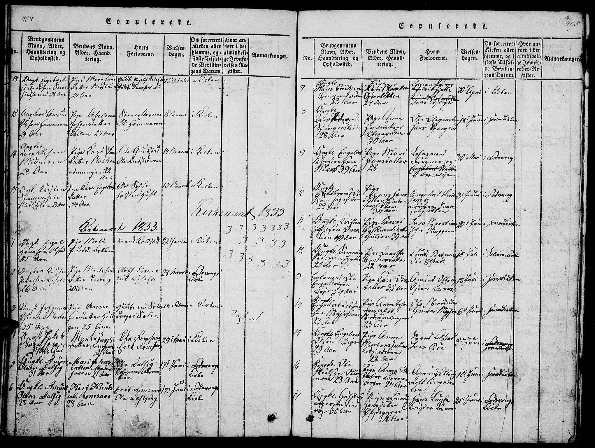 SAH, Ringebu prestekontor, Klokkerbok nr. 1, 1821-1839, s. 404-405