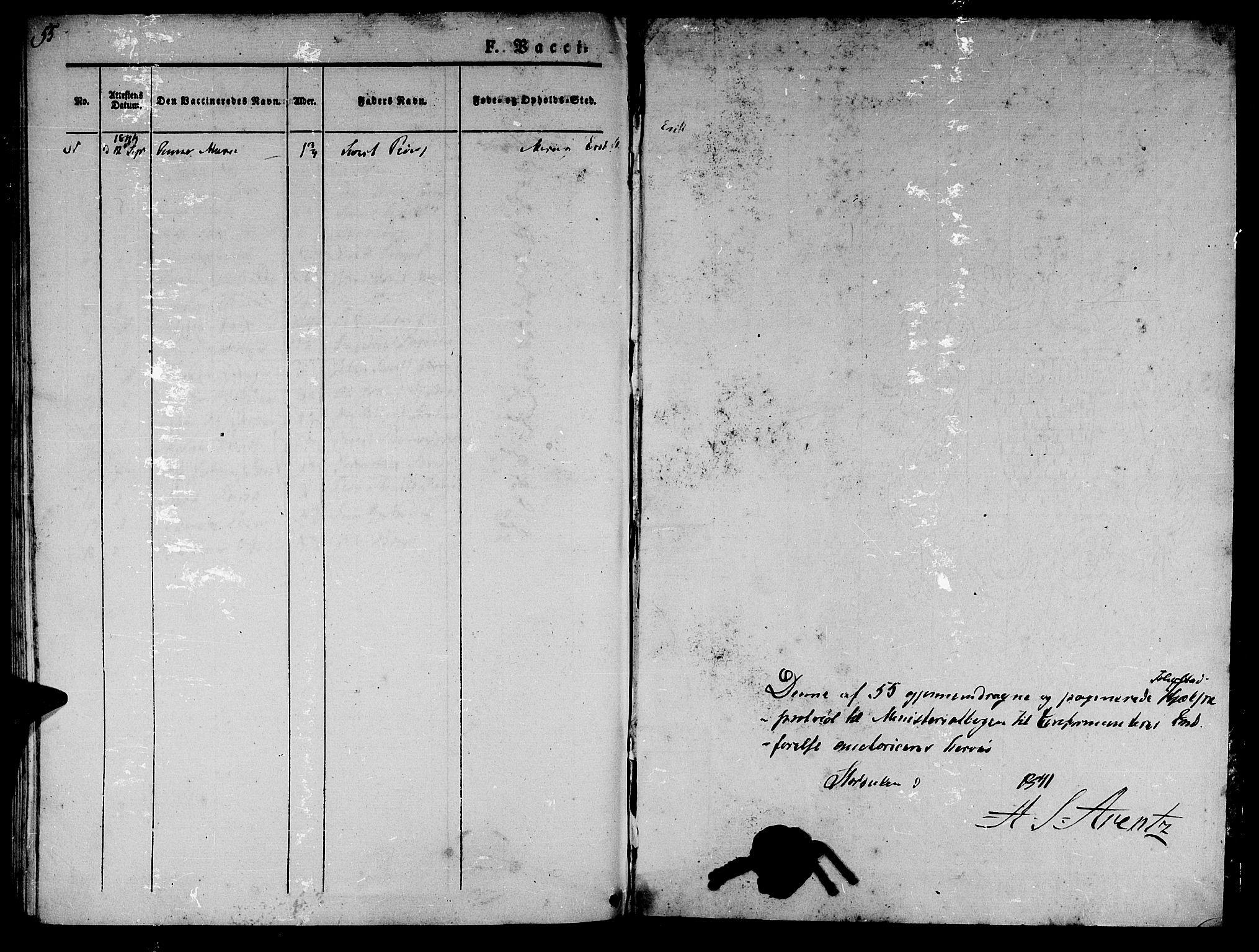 SAT, Ministerialprotokoller, klokkerbøker og fødselsregistre - Nord-Trøndelag, 709/L0073: Ministerialbok nr. 709A13, 1841-1844, s. 55