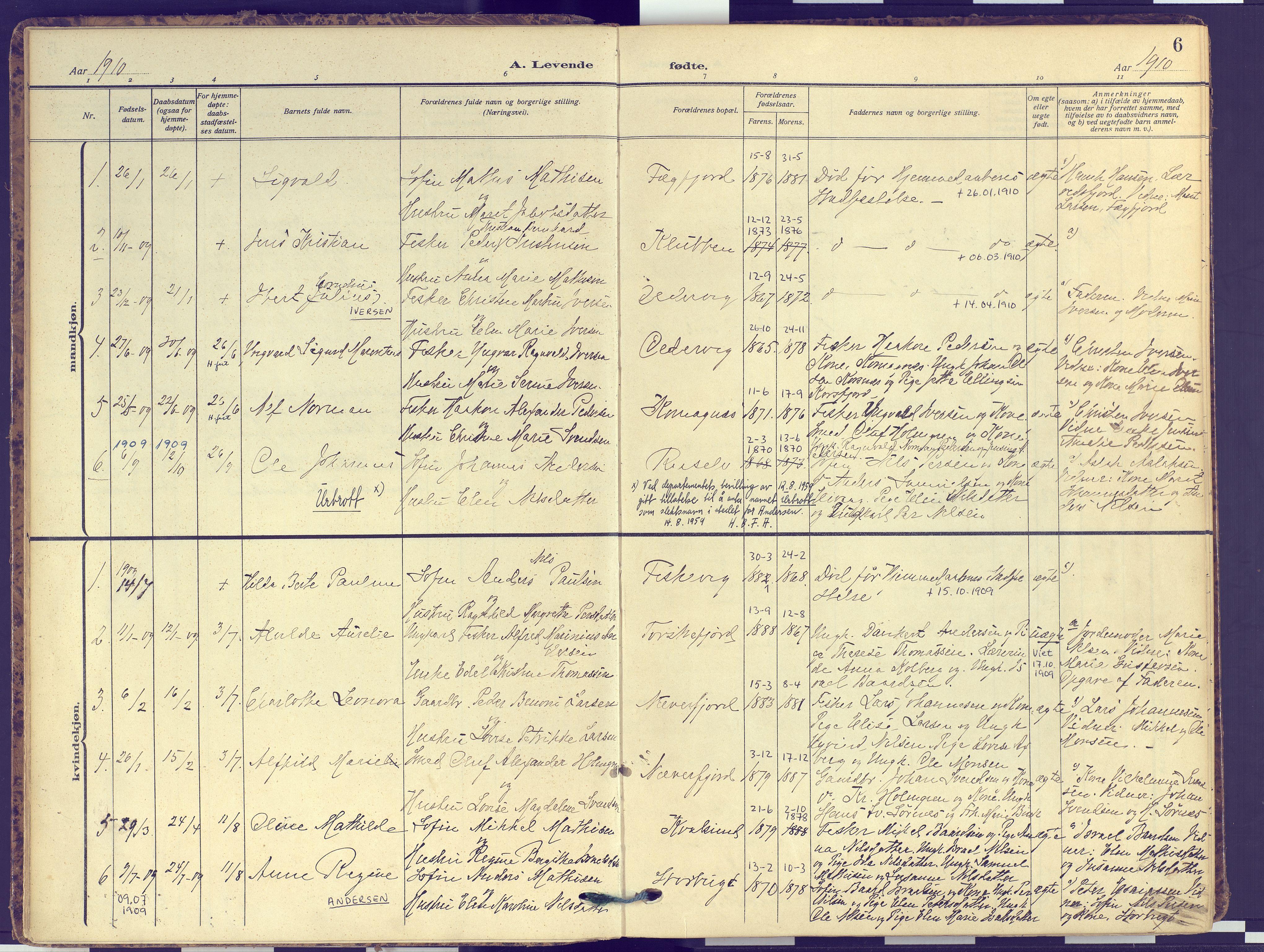 SATØ, Hammerfest sokneprestembete, Ministerialbok nr. 16, 1908-1923, s. 6