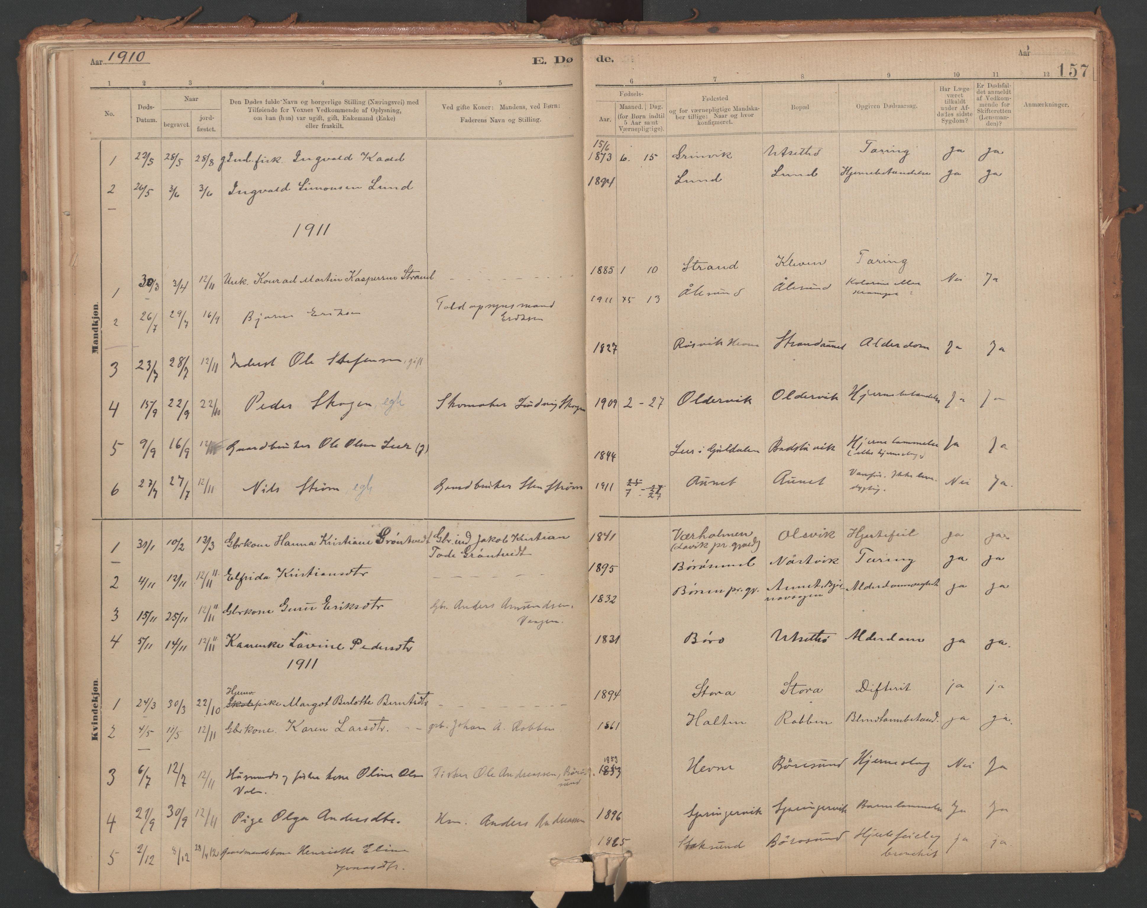SAT, Ministerialprotokoller, klokkerbøker og fødselsregistre - Sør-Trøndelag, 639/L0572: Ministerialbok nr. 639A01, 1890-1920, s. 157