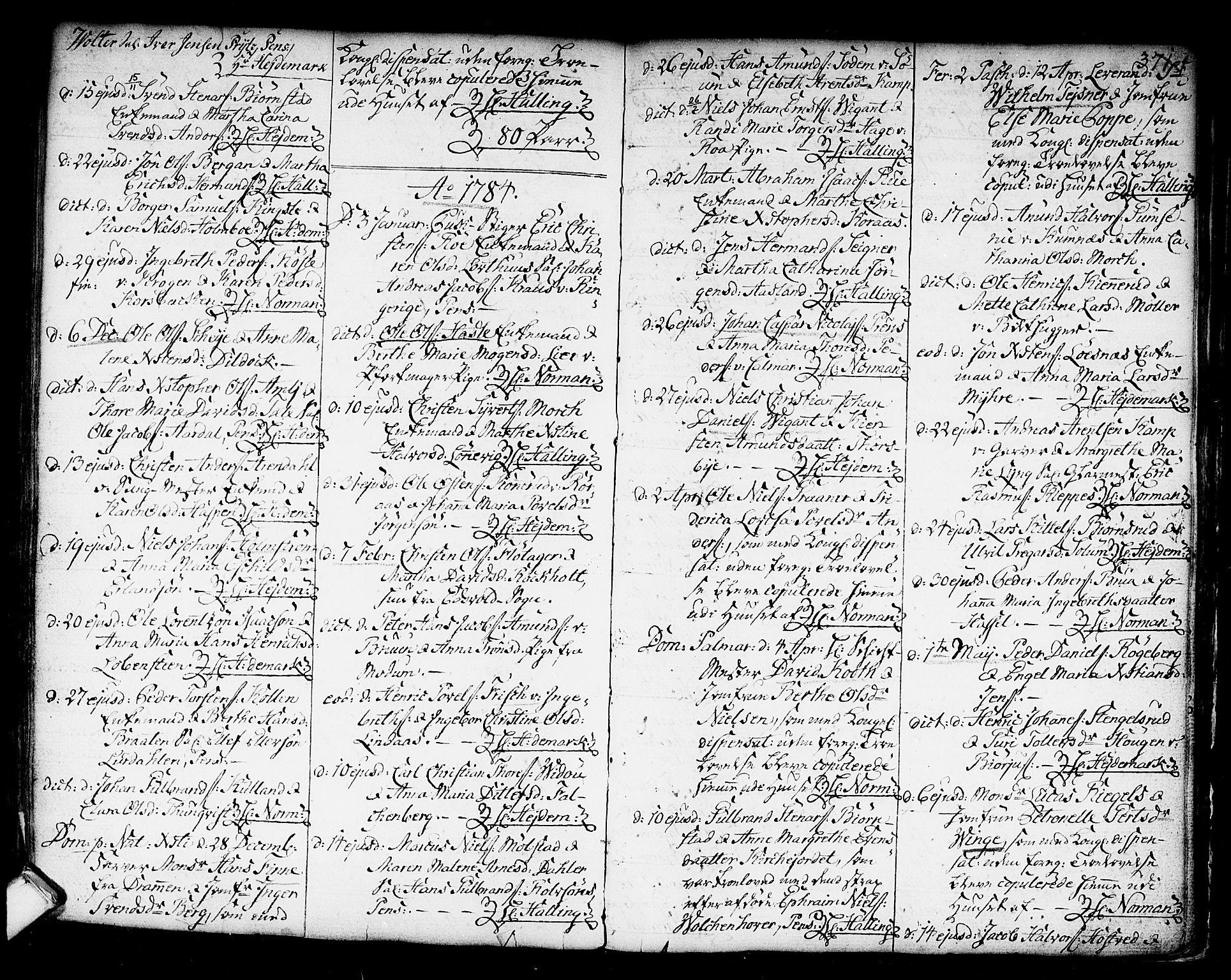 SAKO, Kongsberg kirkebøker, F/Fa/L0006: Ministerialbok nr. I 6, 1783-1797, s. 371