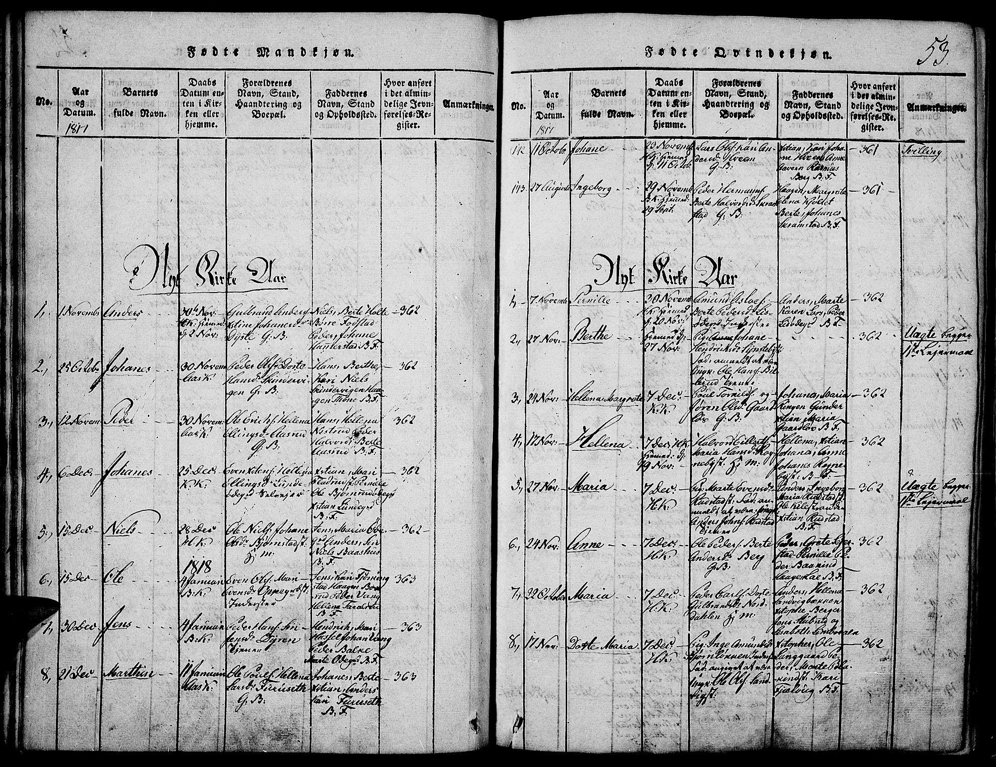 SAH, Toten prestekontor, Ministerialbok nr. 9, 1814-1820, s. 53