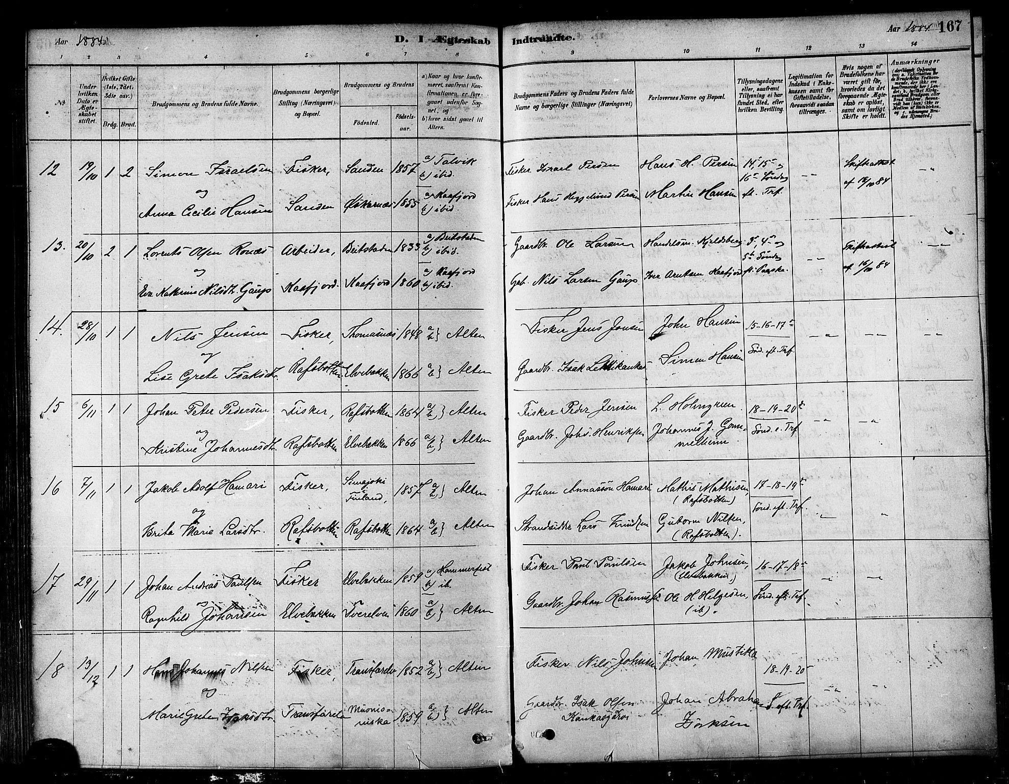 SATØ, Alta sokneprestkontor, H/Ha/L0002.kirke: Ministerialbok nr. 2, 1879-1892, s. 167