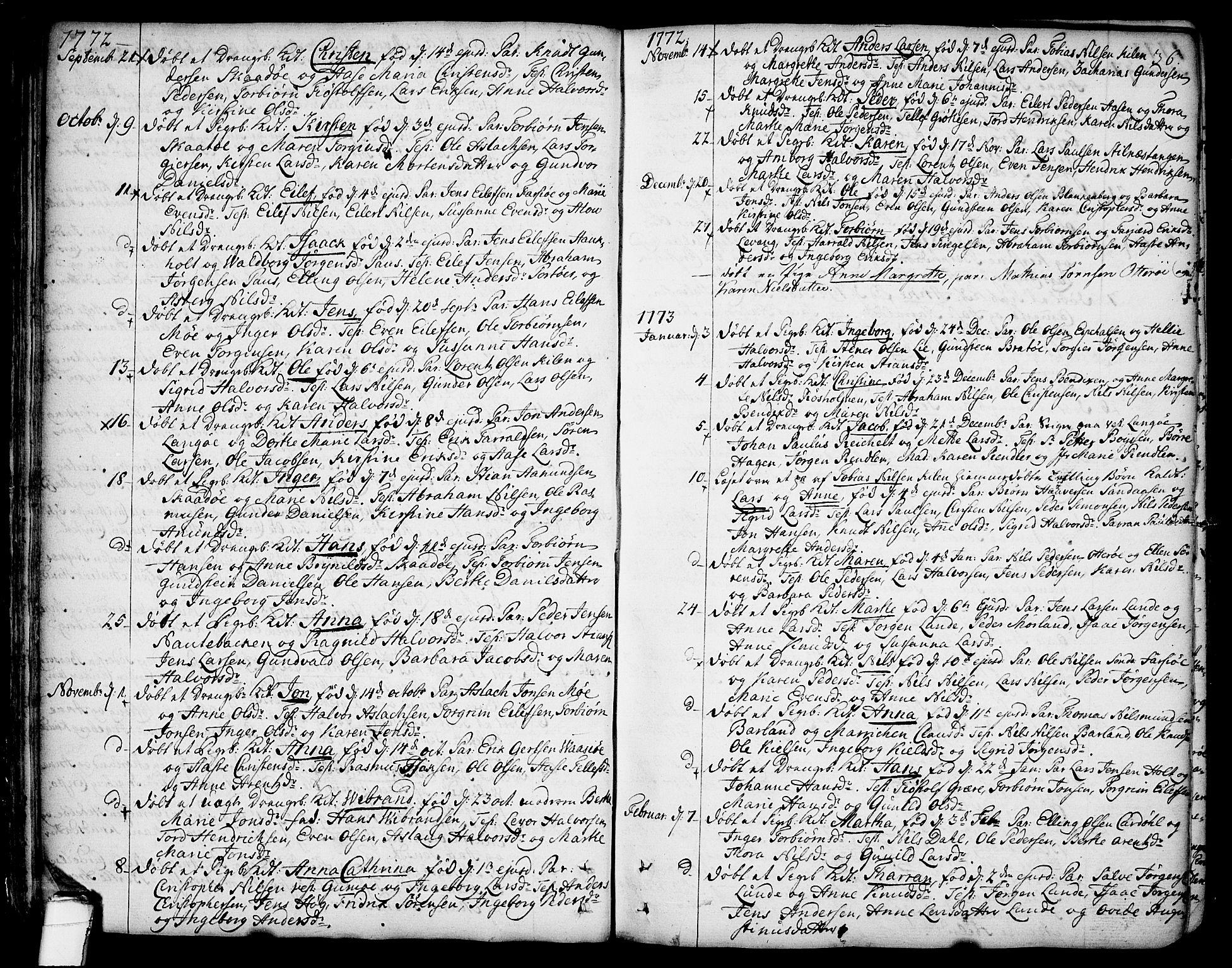 SAKO, Sannidal kirkebøker, F/Fa/L0002: Ministerialbok nr. 2, 1767-1802, s. 36