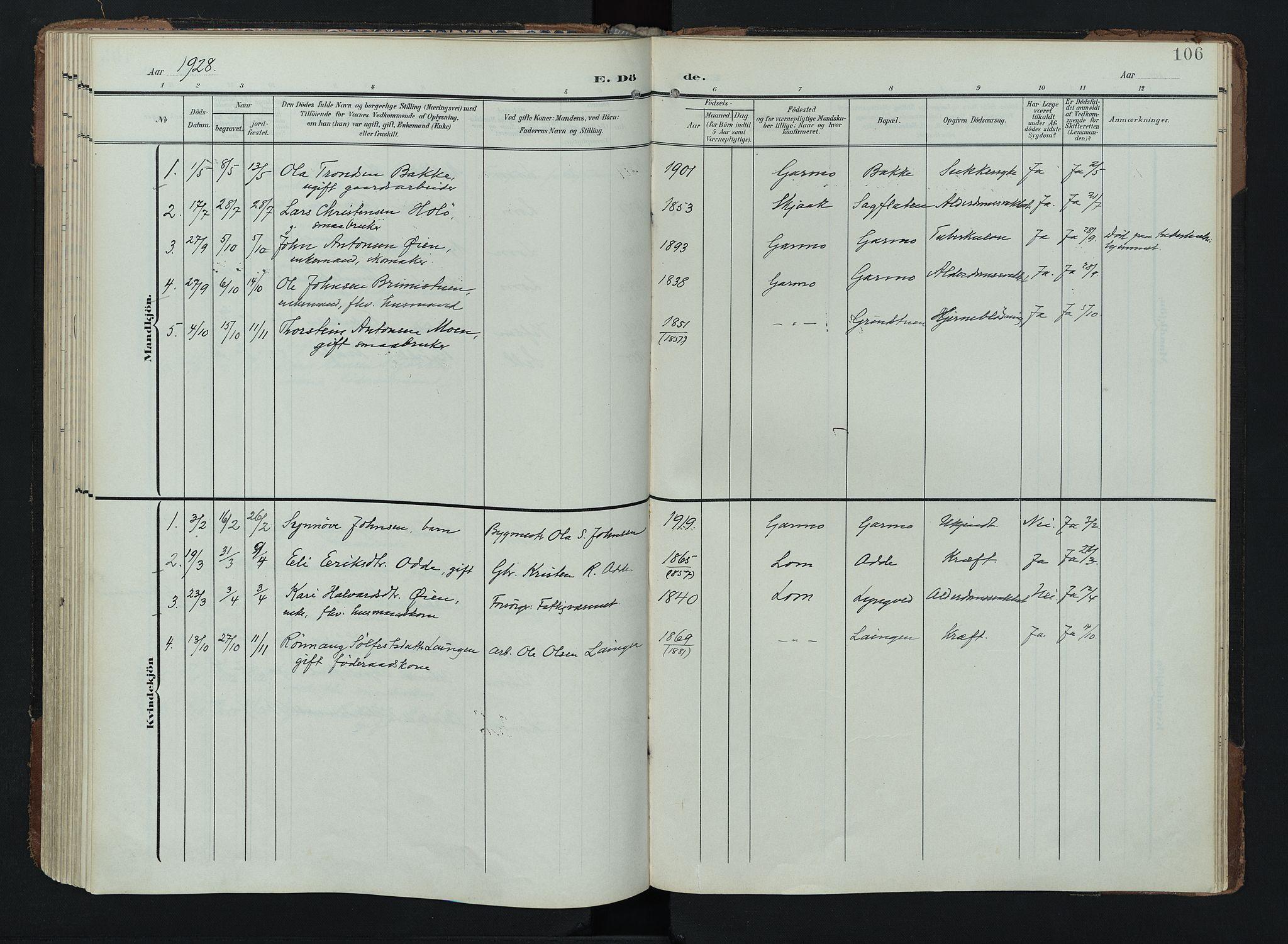 SAH, Lom prestekontor, K/L0011: Ministerialbok nr. 11, 1904-1928, s. 106