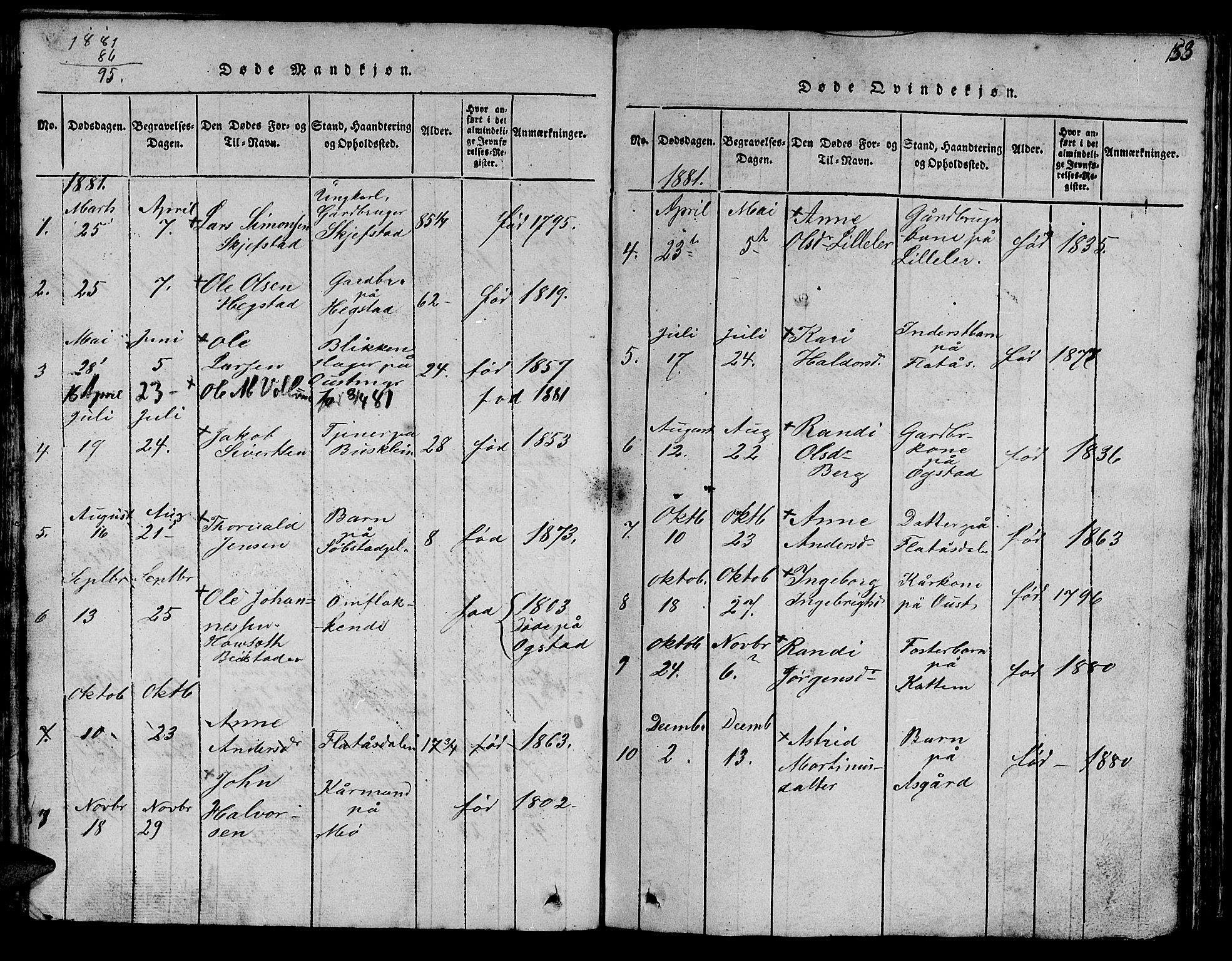 SAT, Ministerialprotokoller, klokkerbøker og fødselsregistre - Sør-Trøndelag, 613/L0393: Klokkerbok nr. 613C01, 1816-1886, s. 153
