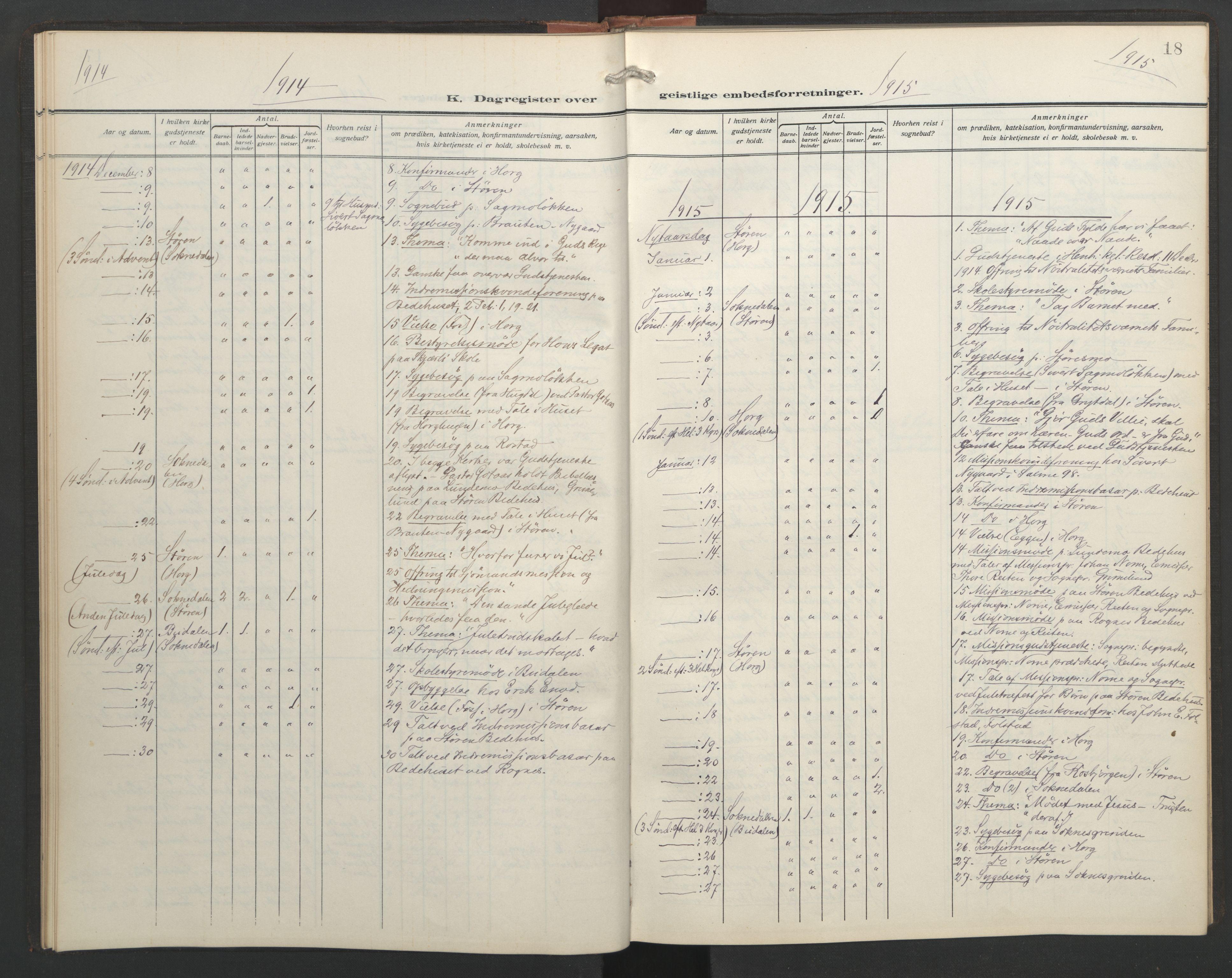 SAT, Ministerialprotokoller, klokkerbøker og fødselsregistre - Sør-Trøndelag, 687/L1006: Dagregister nr. 687A12, 1912-1931, s. 18