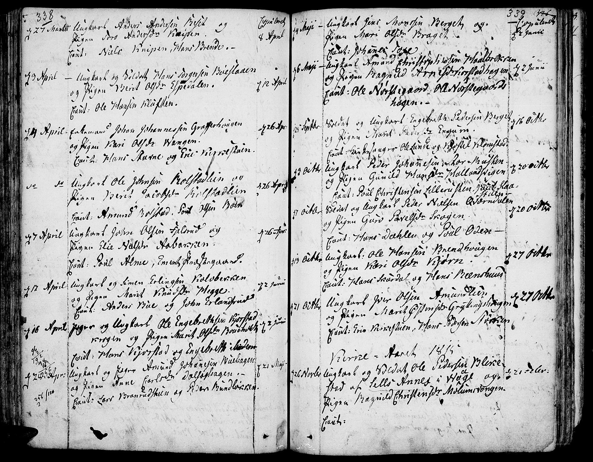 SAH, Fron prestekontor, H/Ha/Haa/L0001: Ministerialbok nr. 1, 1799-1816, s. 338-339