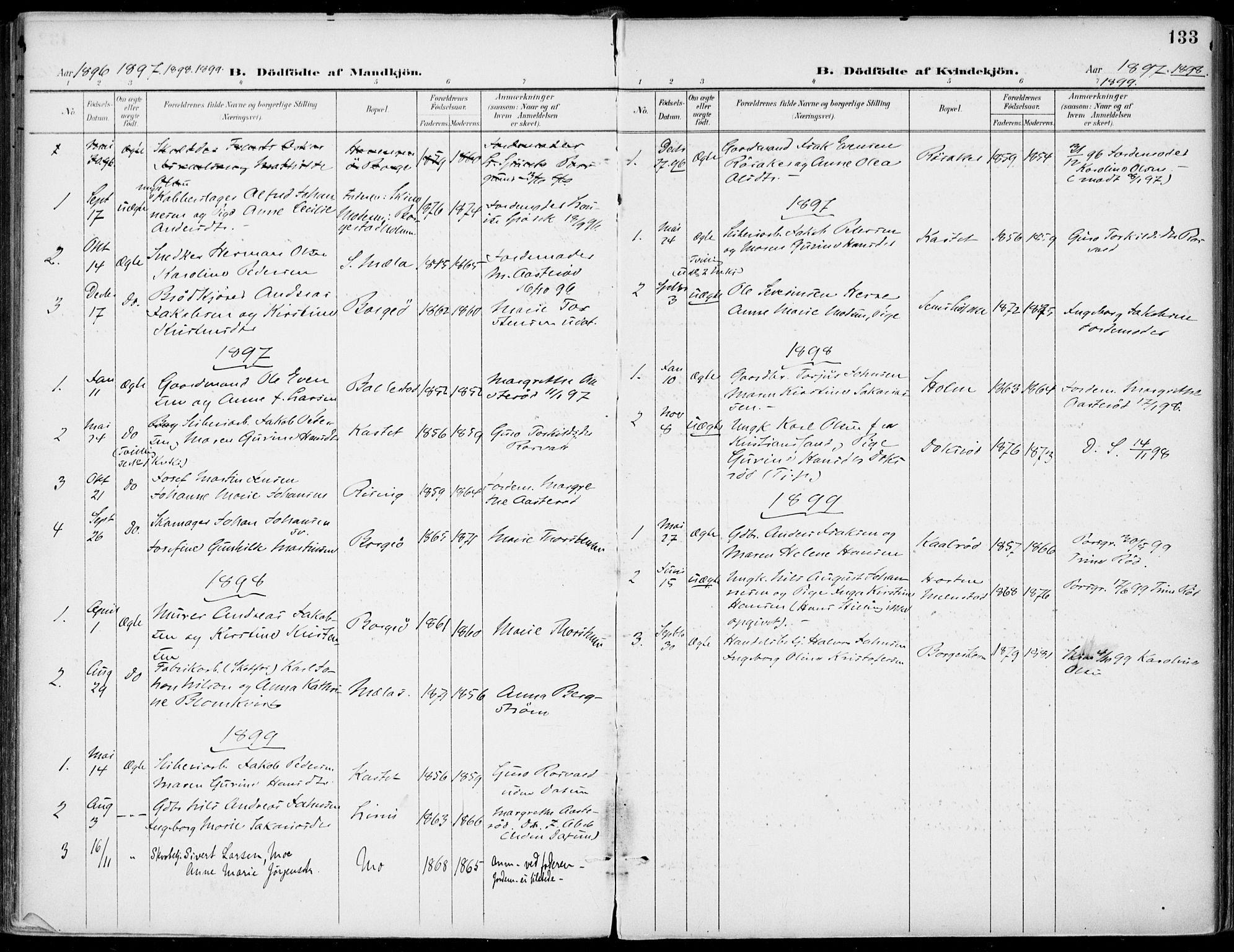 SAKO, Gjerpen kirkebøker, F/Fa/L0011: Ministerialbok nr. 11, 1896-1904, s. 133