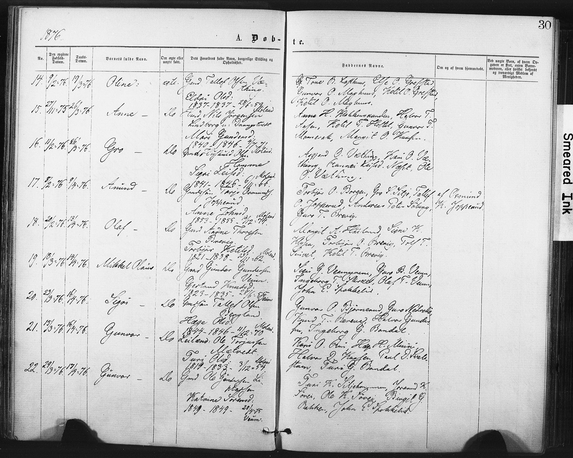 SAKO, Fyresdal kirkebøker, F/Fa/L0006: Ministerialbok nr. I 6, 1872-1886, s. 30