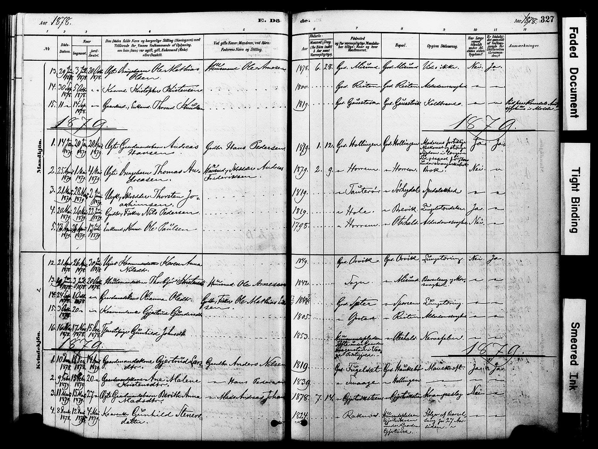 SAT, Ministerialprotokoller, klokkerbøker og fødselsregistre - Møre og Romsdal, 560/L0721: Ministerialbok nr. 560A05, 1878-1917, s. 327