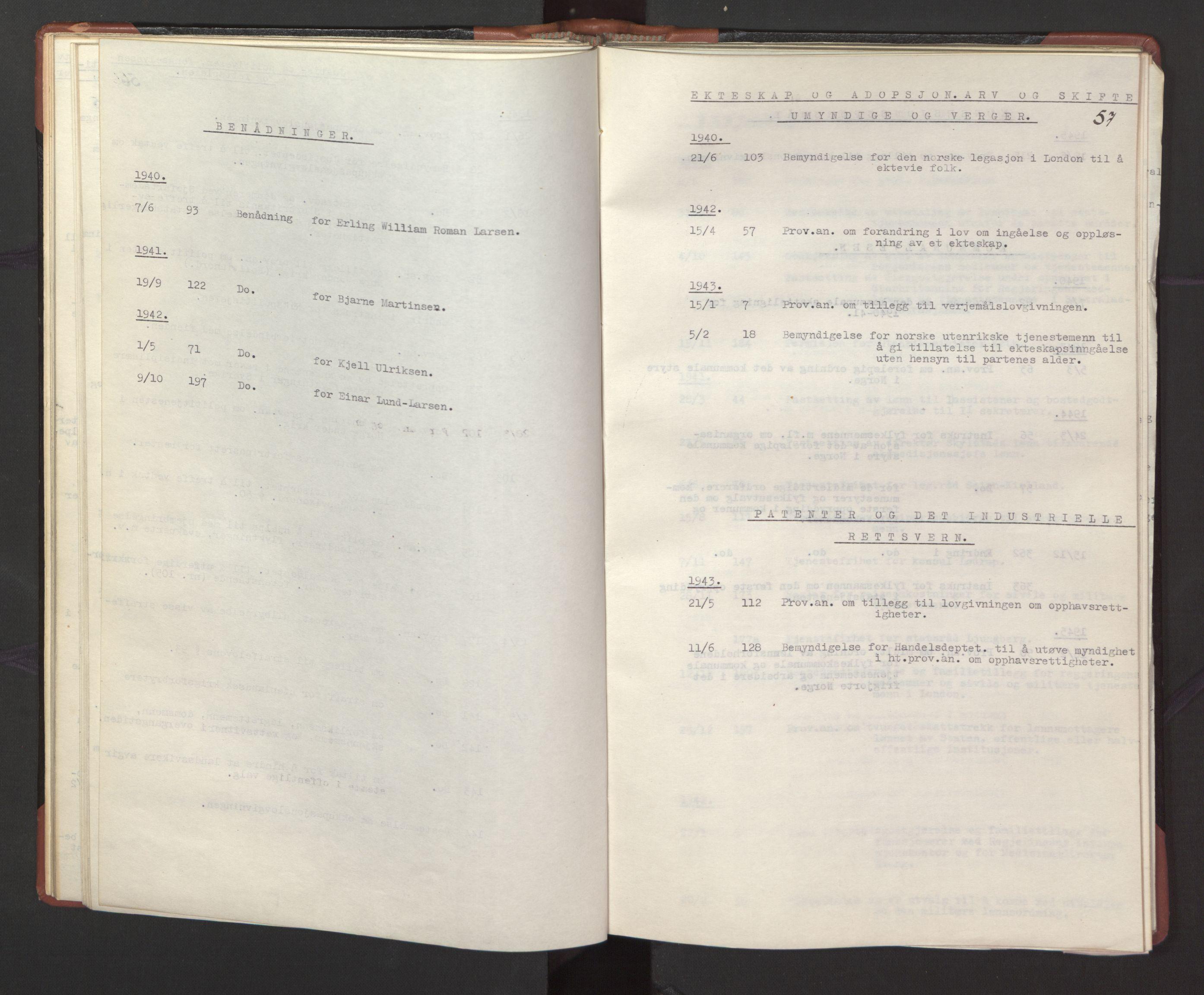 RA, Statsrådssekretariatet, A/Ac/L0127: Register 9/4-25/5, 1940-1945, s. 57