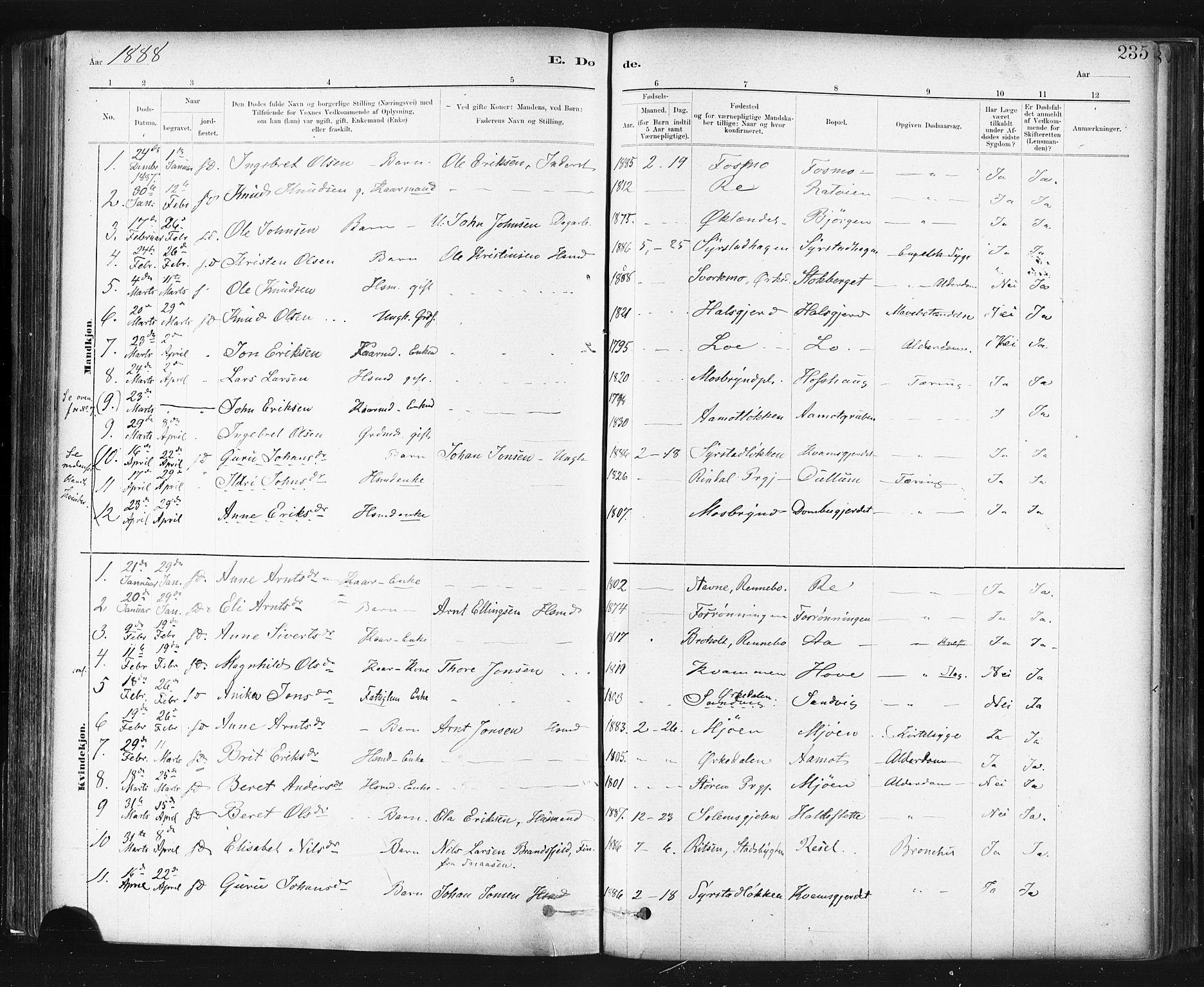 SAT, Ministerialprotokoller, klokkerbøker og fødselsregistre - Sør-Trøndelag, 672/L0857: Ministerialbok nr. 672A09, 1882-1893, s. 235