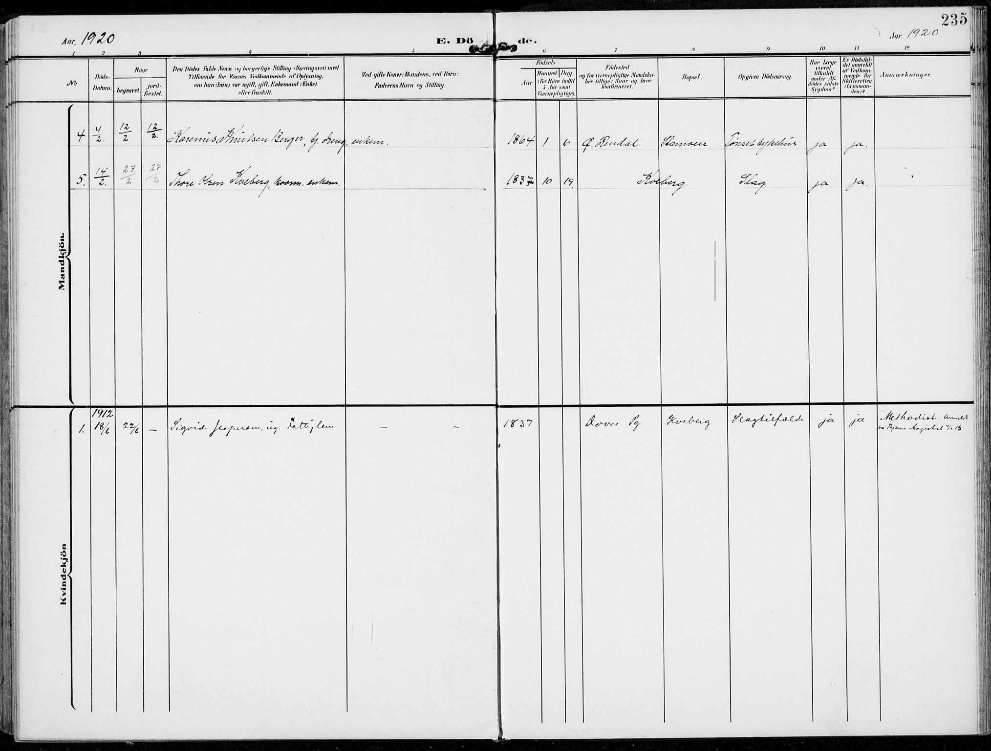 SAH, Alvdal prestekontor, Ministerialbok nr. 4, 1907-1919, s. 235