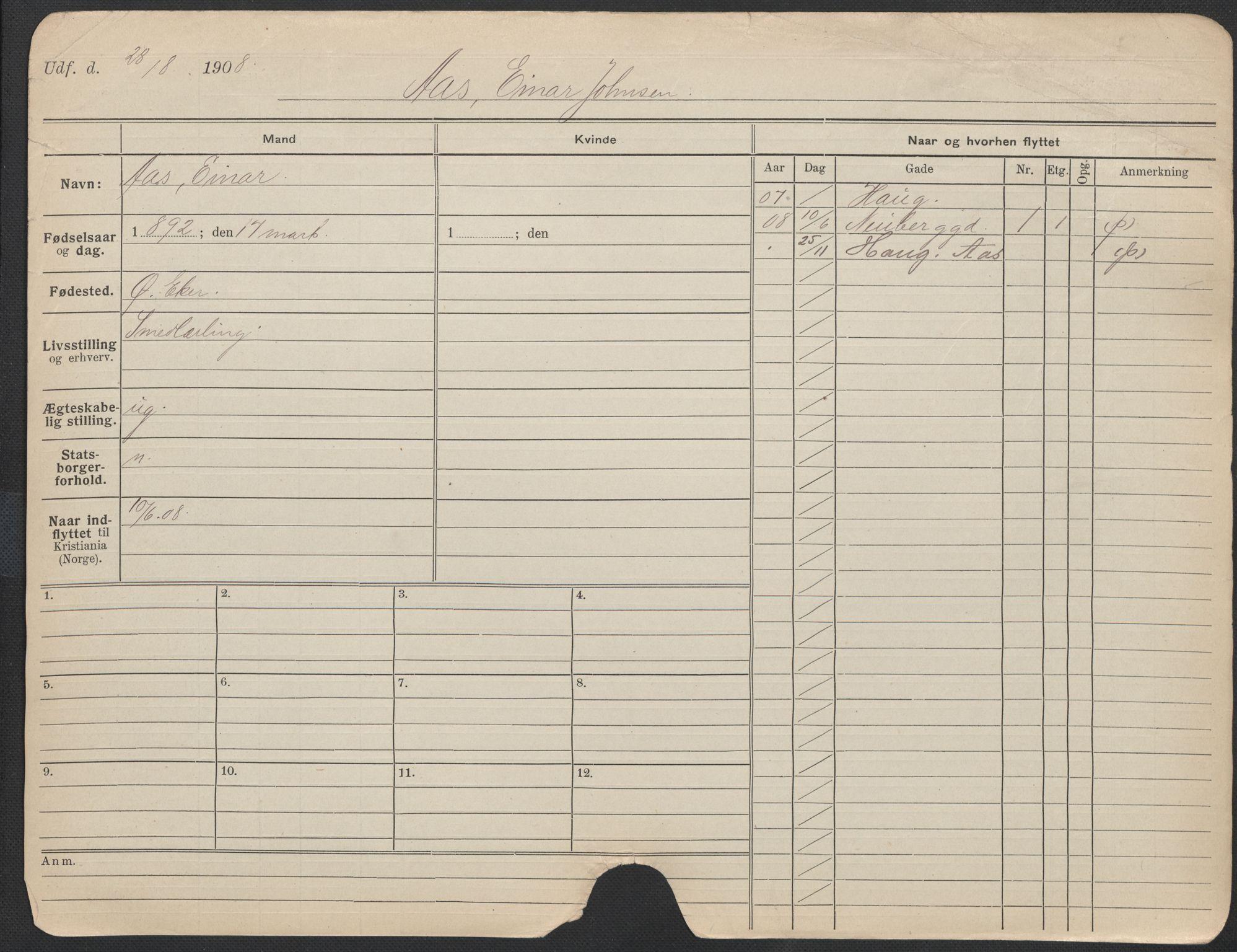 SAO, Oslo folkeregister, Registerkort, F/Fa/Fac/L0011: Menn, 1906-1914, s. 1201a