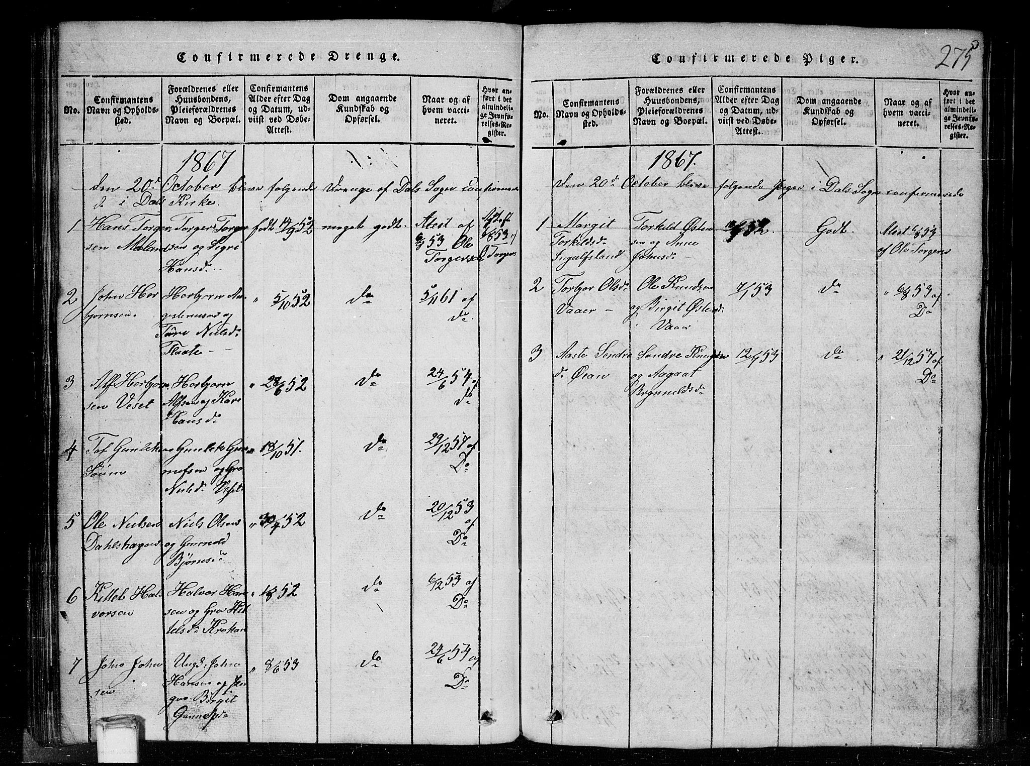 SAKO, Tinn kirkebøker, G/Gc/L0001: Klokkerbok nr. III 1, 1815-1879, s. 275