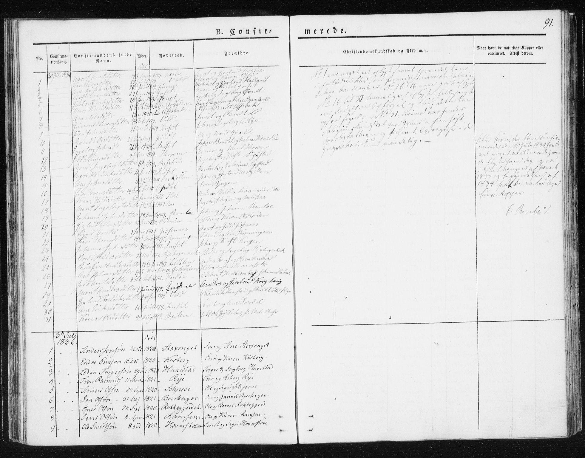 SAT, Ministerialprotokoller, klokkerbøker og fødselsregistre - Sør-Trøndelag, 674/L0869: Ministerialbok nr. 674A01, 1829-1860, s. 91
