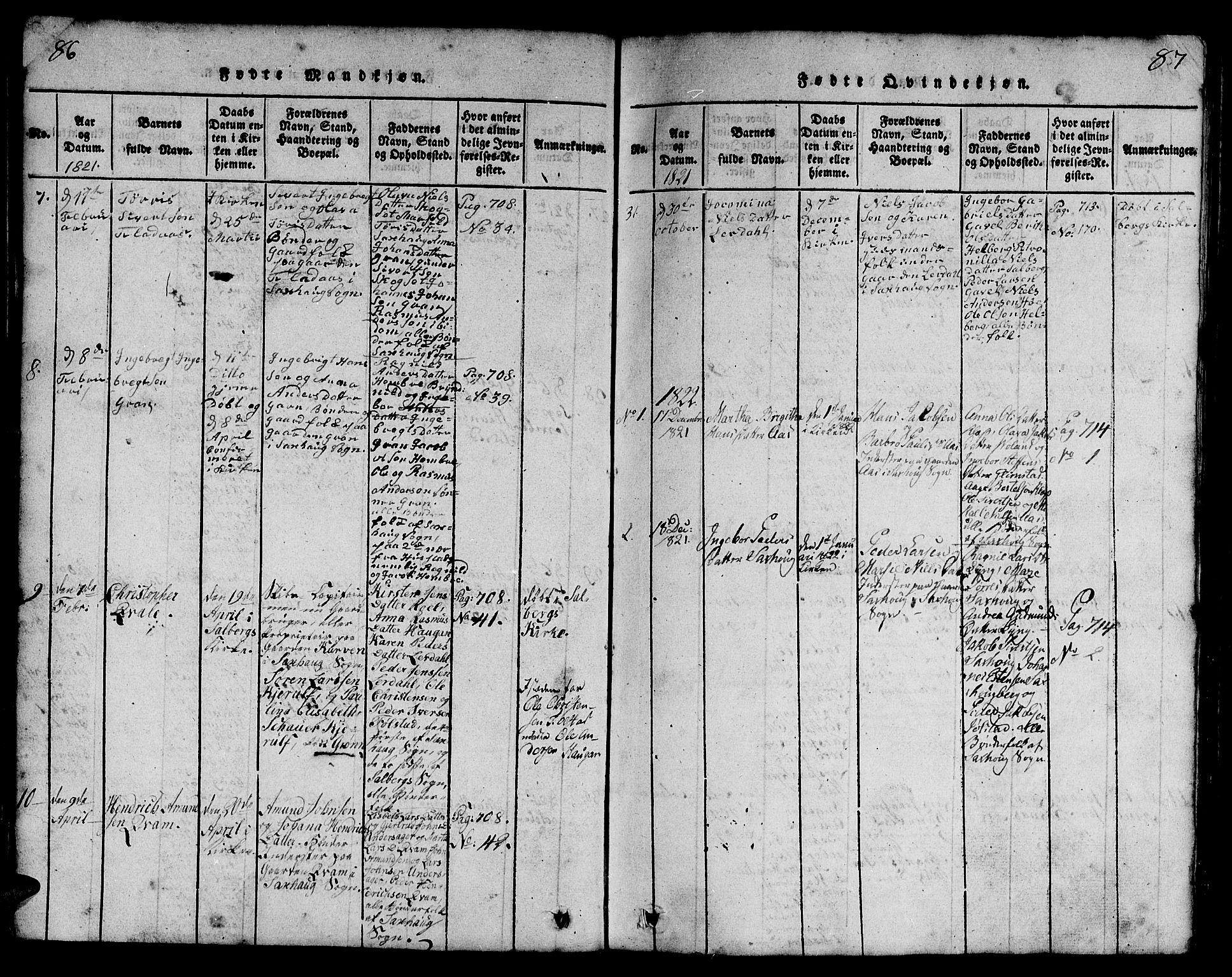 SAT, Ministerialprotokoller, klokkerbøker og fødselsregistre - Nord-Trøndelag, 730/L0298: Klokkerbok nr. 730C01, 1816-1849, s. 86-87