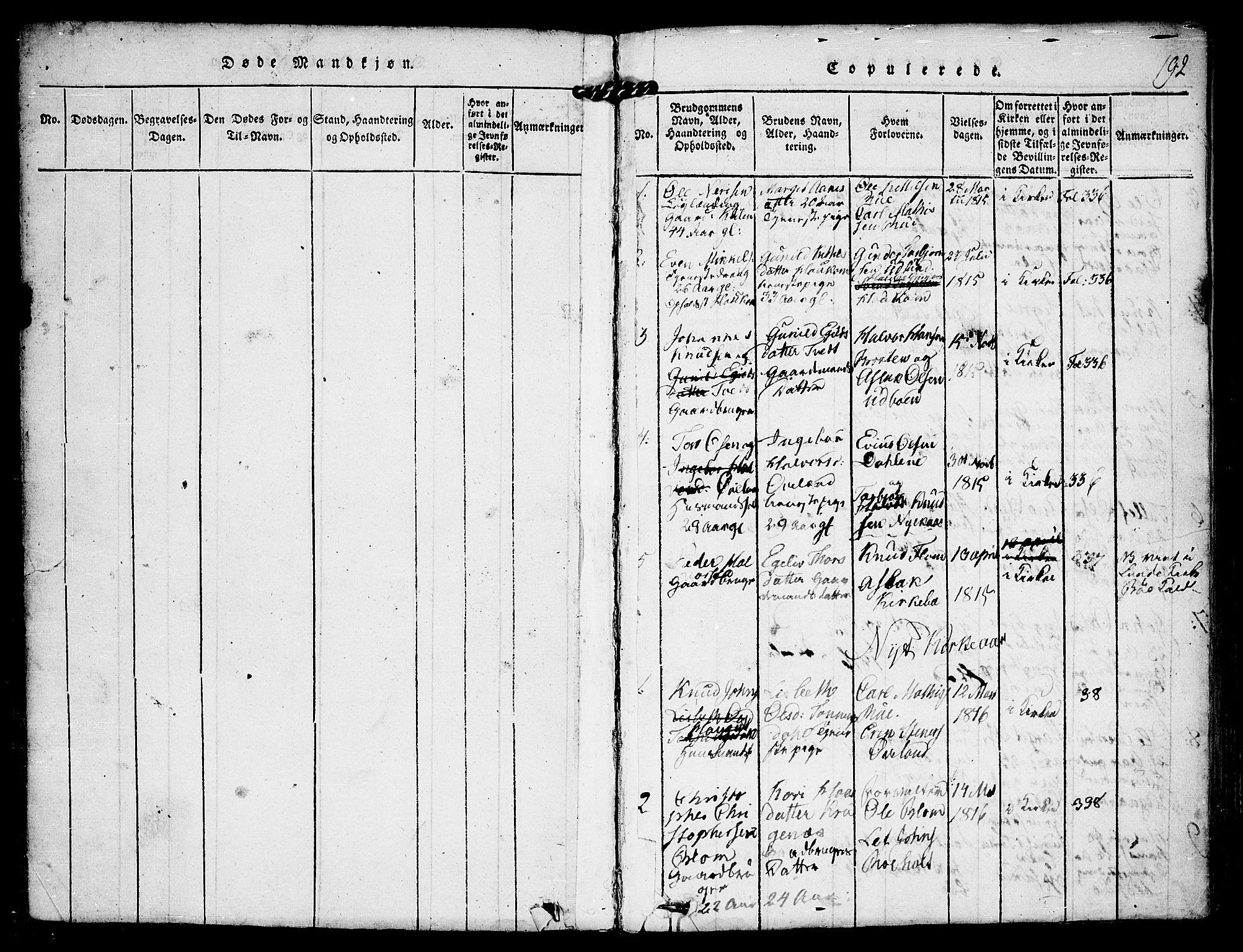 SAKO, Kviteseid kirkebøker, F/Fa/L0005: Ministerialbok nr. I 5, 1815-1836, s. 192