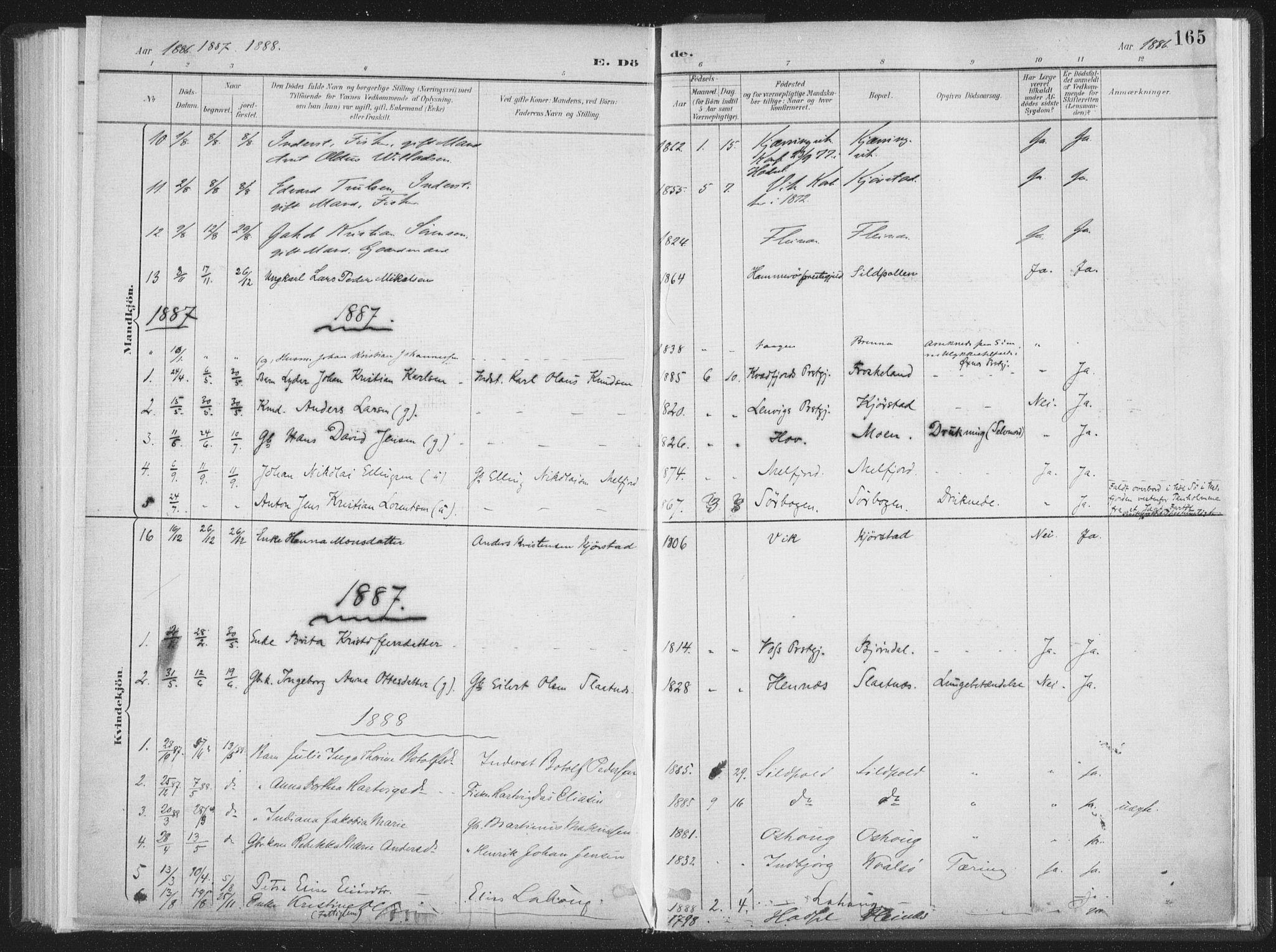 SAT, Ministerialprotokoller, klokkerbøker og fødselsregistre - Nordland, 890/L1286: Ministerialbok nr. 890A01, 1882-1902, s. 165