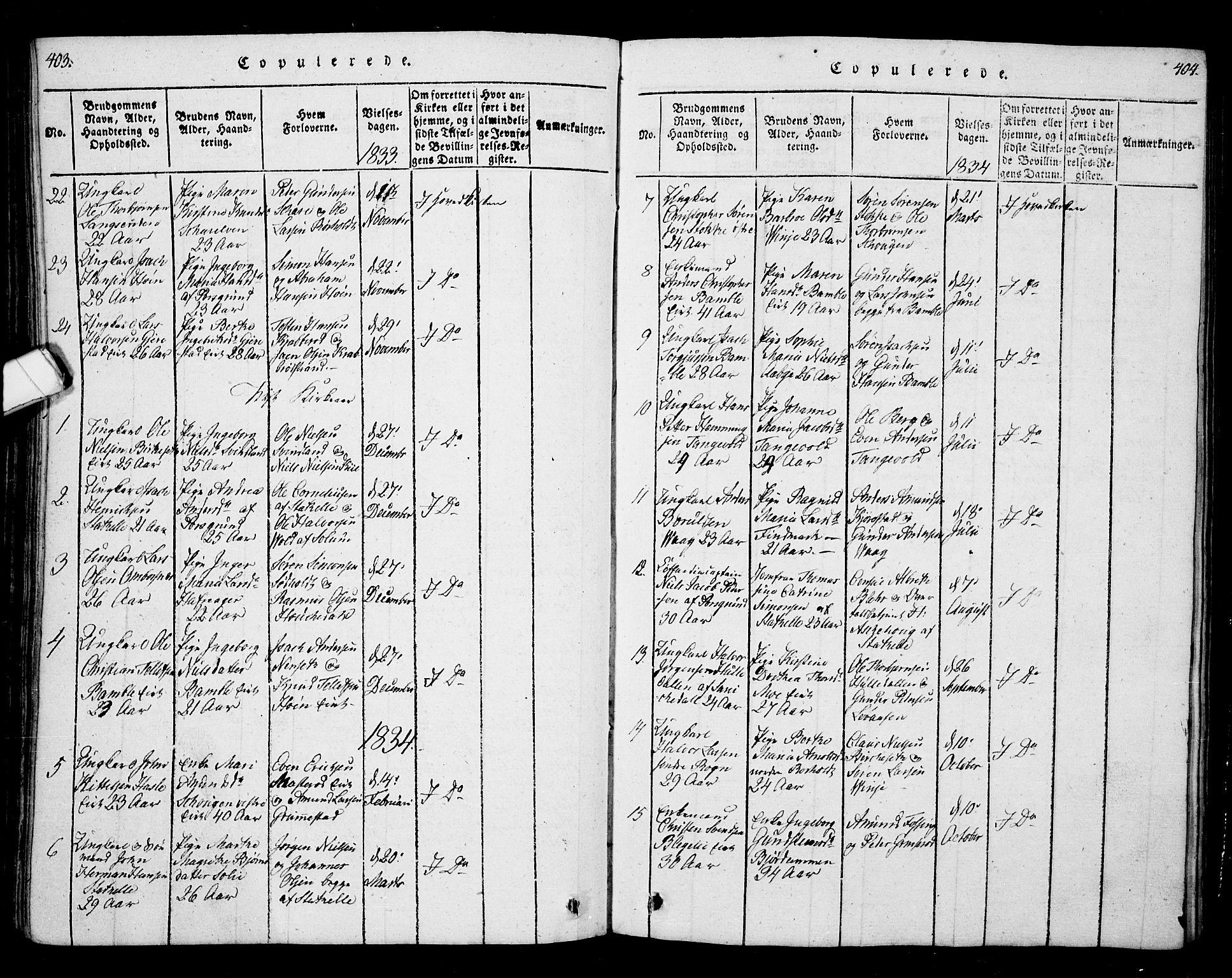 SAKO, Bamble kirkebøker, G/Ga/L0005: Klokkerbok nr. I 5, 1814-1855, s. 403-404