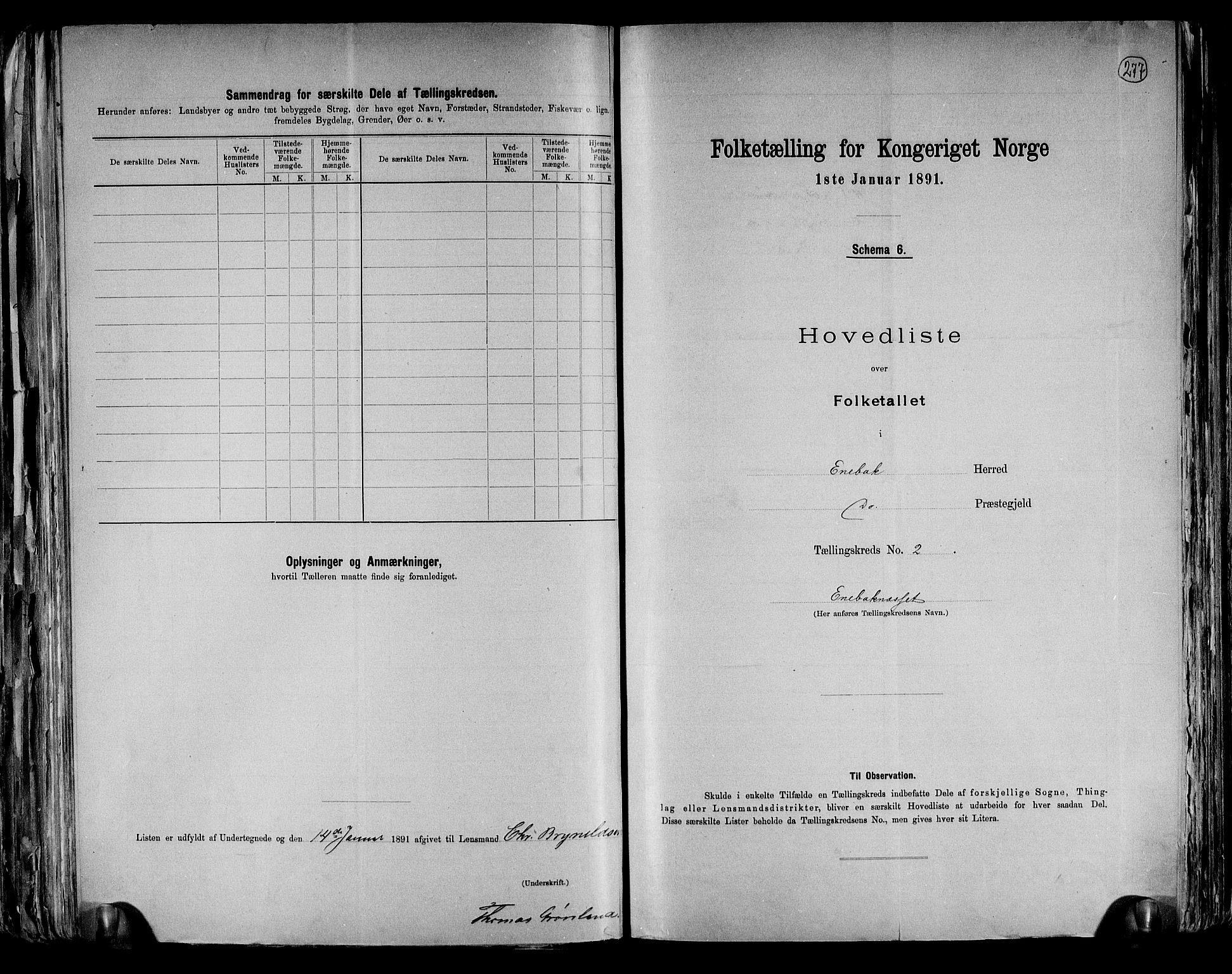 RA, Folketelling 1891 for 0229 Enebakk herred, 1891, s. 9