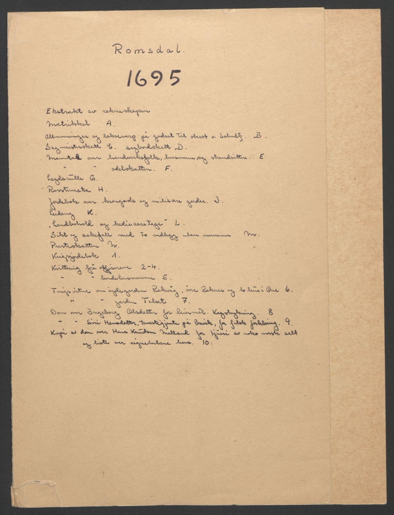RA, Rentekammeret inntil 1814, Reviderte regnskaper, Fogderegnskap, R55/L3652: Fogderegnskap Romsdal, 1695-1696, s. 2