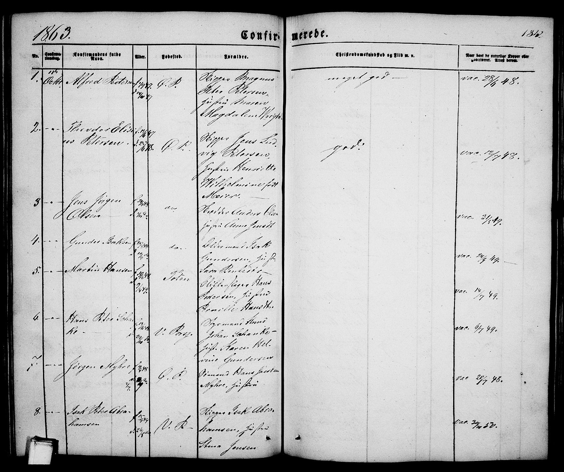 SAKO, Porsgrunn kirkebøker , G/Ga/L0002: Klokkerbok nr. I 2, 1847-1877, s. 134