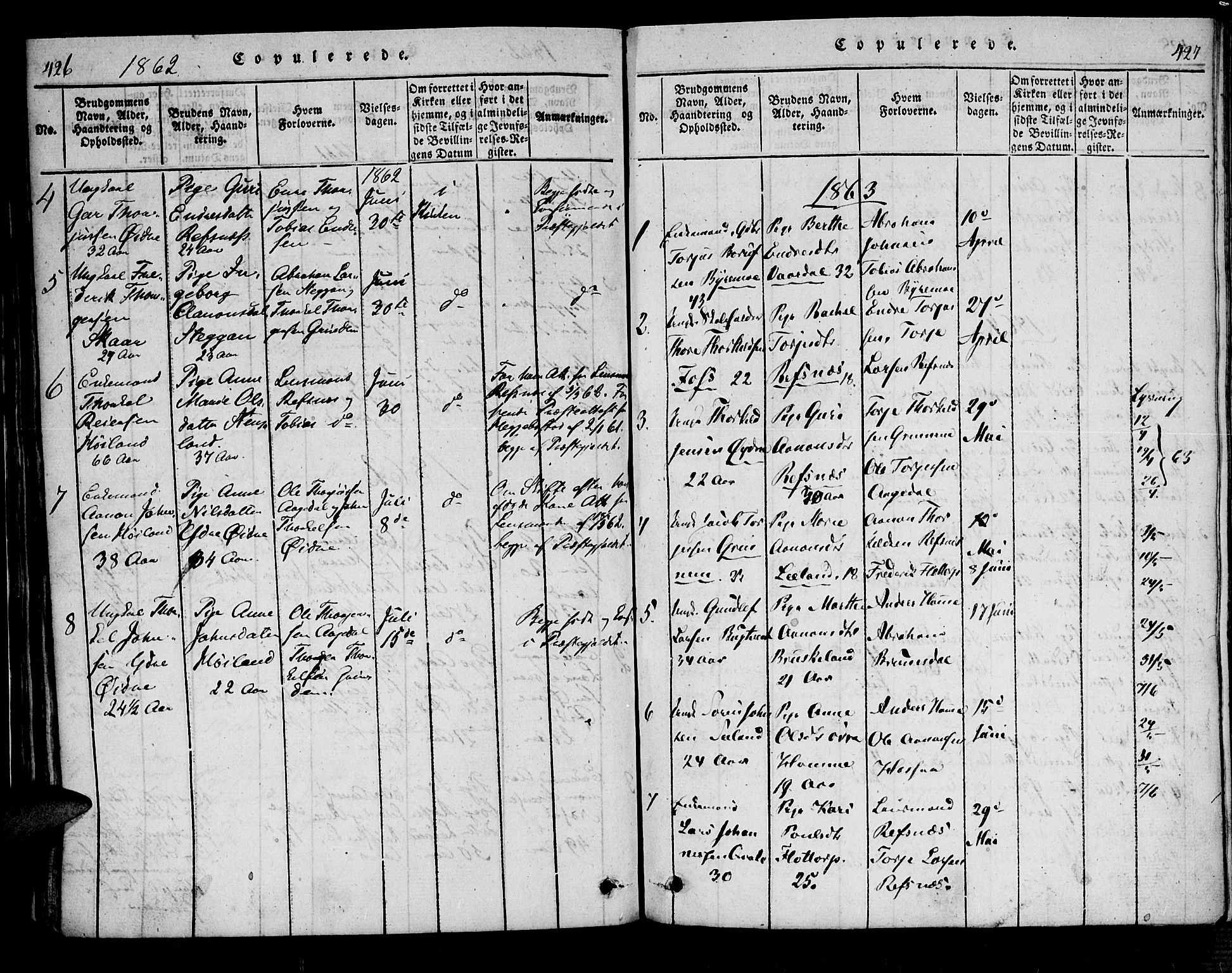 SAK, Bjelland sokneprestkontor, F/Fa/Fac/L0001: Ministerialbok nr. A 1, 1815-1866, s. 426-427