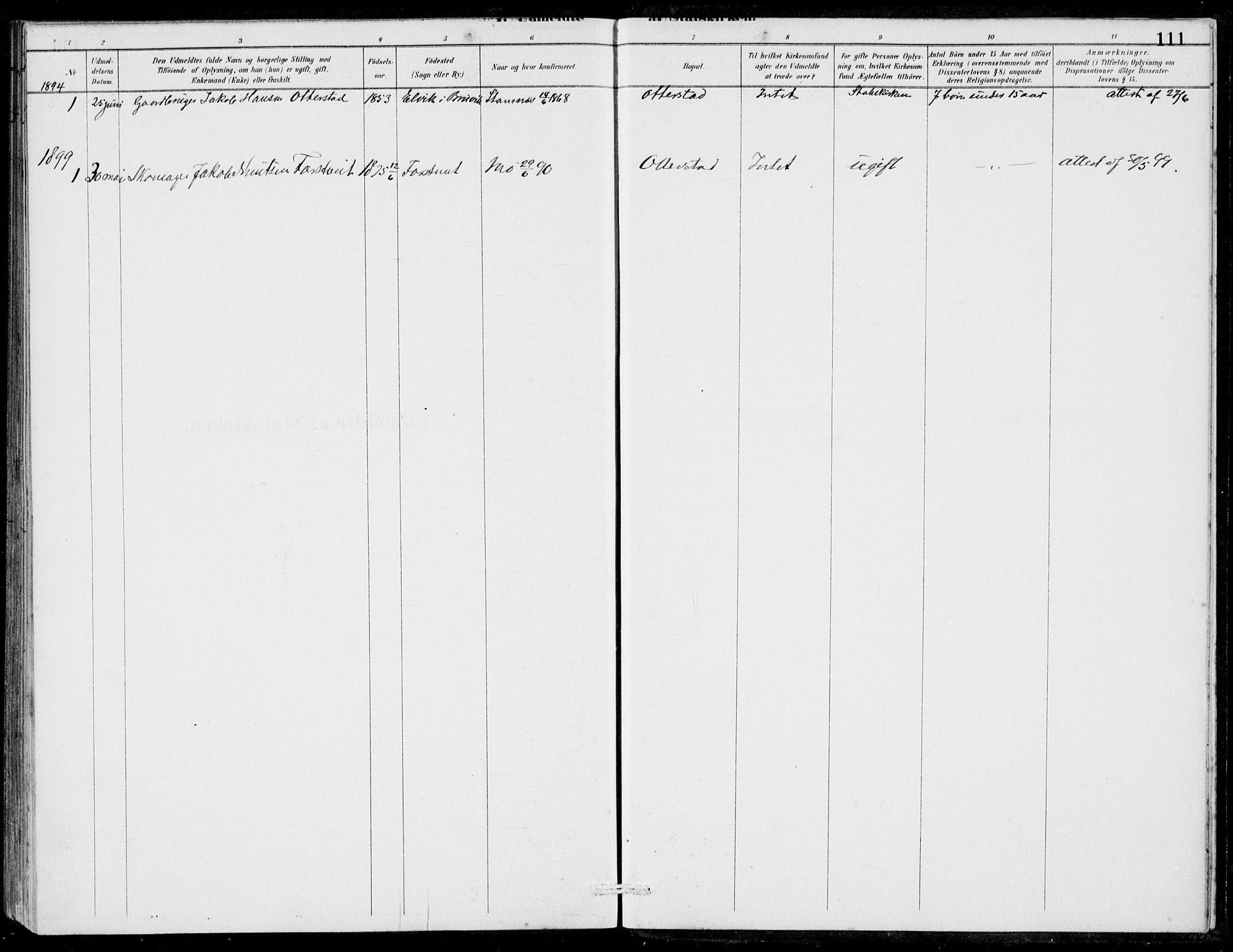 SAB, Hosanger Sokneprestembete, H/Haa: Ministerialbok nr. C  1, 1880-1900, s. 111