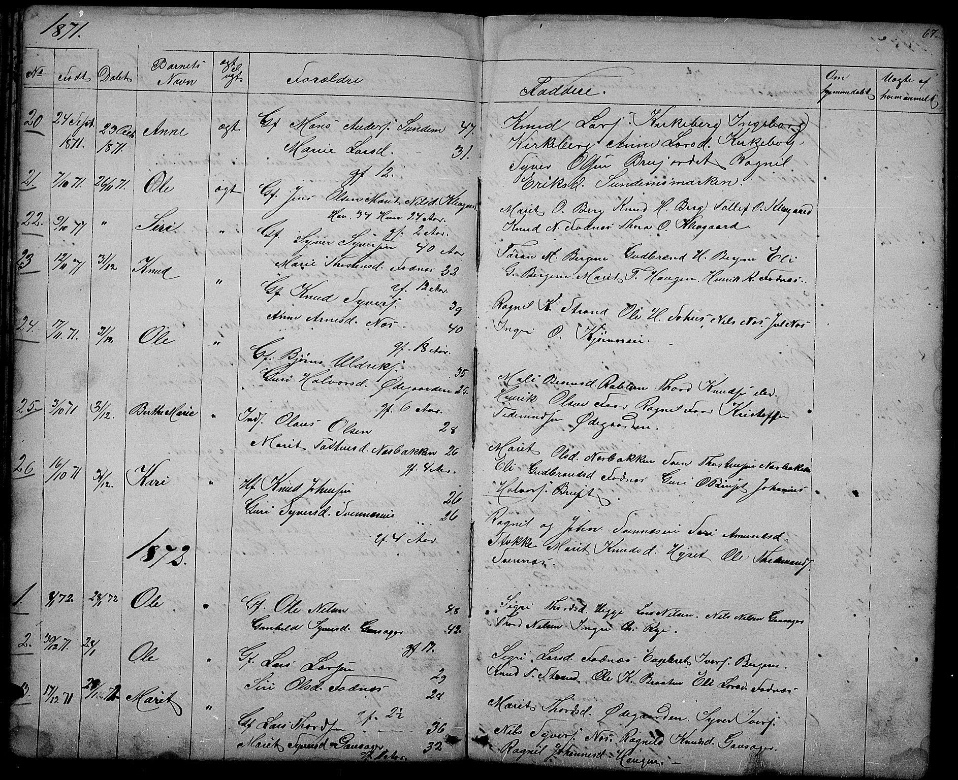 SAH, Nord-Aurdal prestekontor, Klokkerbok nr. 3, 1842-1882, s. 67