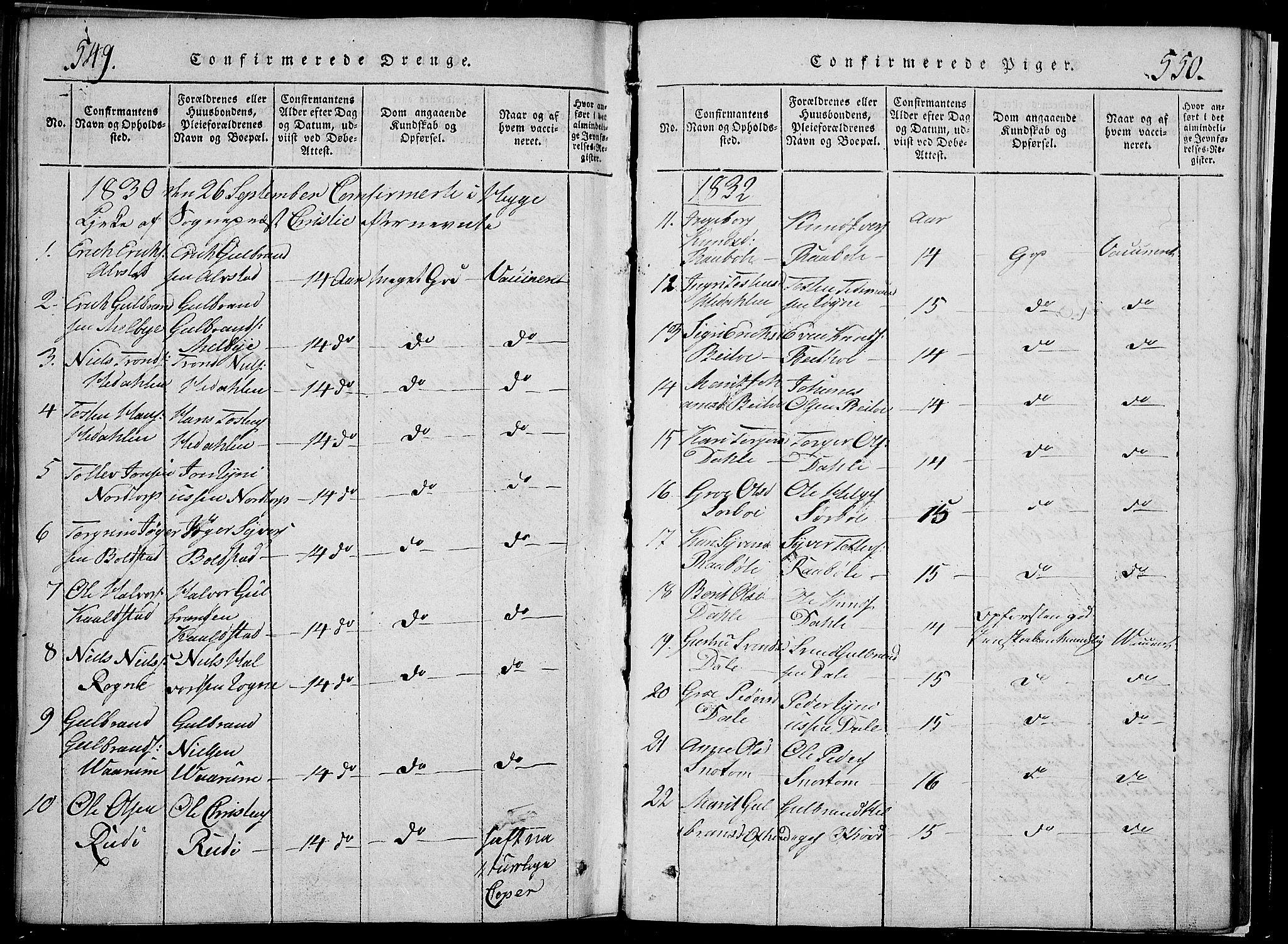 SAH, Slidre prestekontor, Klokkerbok nr. 2, 1814-1839, s. 549-550
