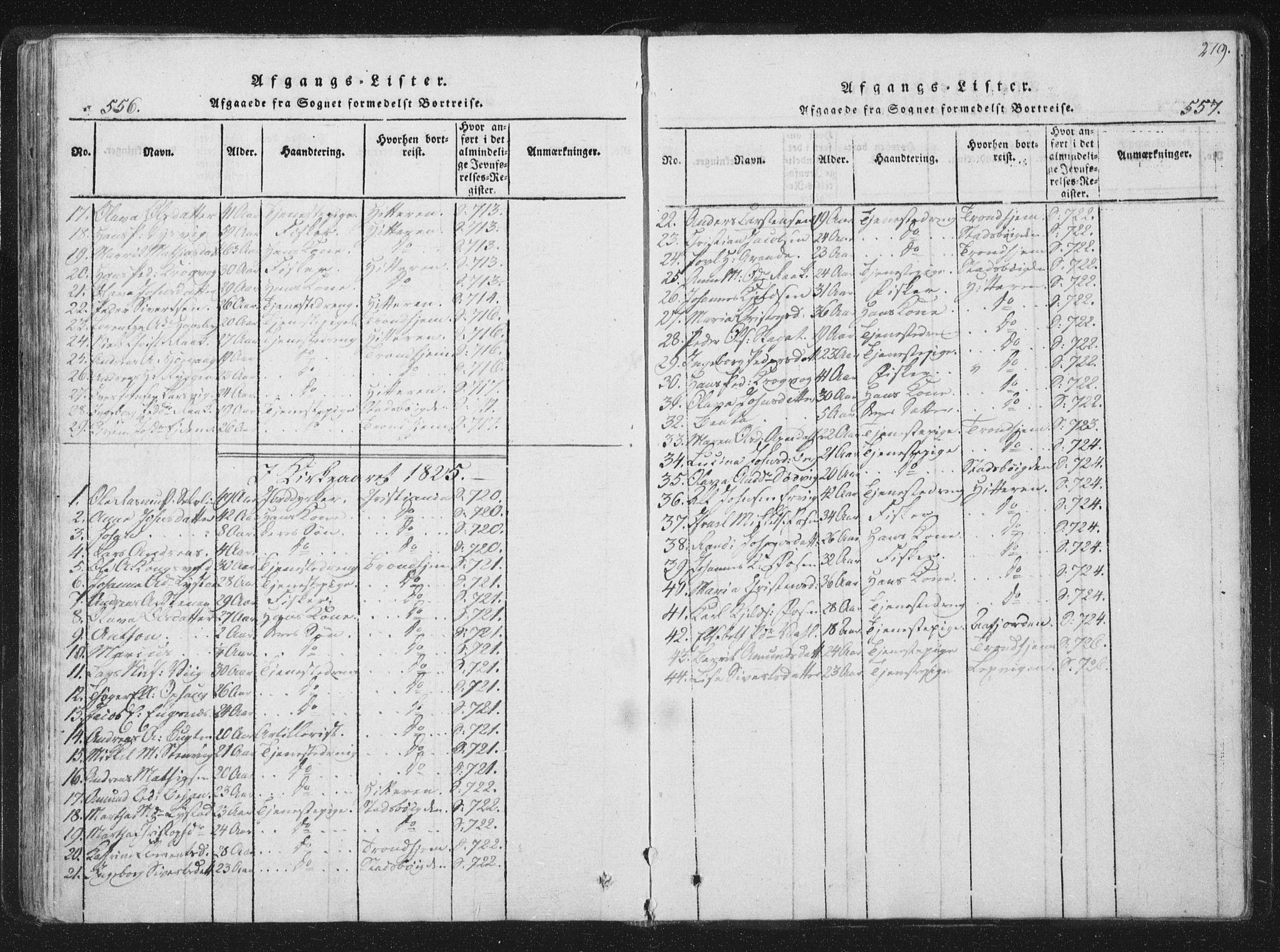 SAT, Ministerialprotokoller, klokkerbøker og fødselsregistre - Sør-Trøndelag, 659/L0734: Ministerialbok nr. 659A04, 1818-1825, s. 556-557