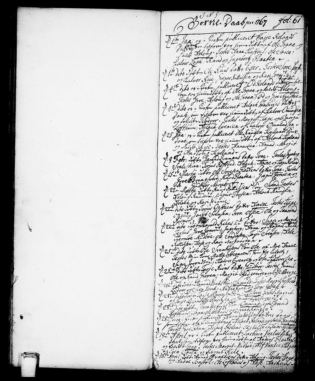 SAKO, Vinje kirkebøker, F/Fa/L0002: Ministerialbok nr. I 2, 1767-1814, s. 61