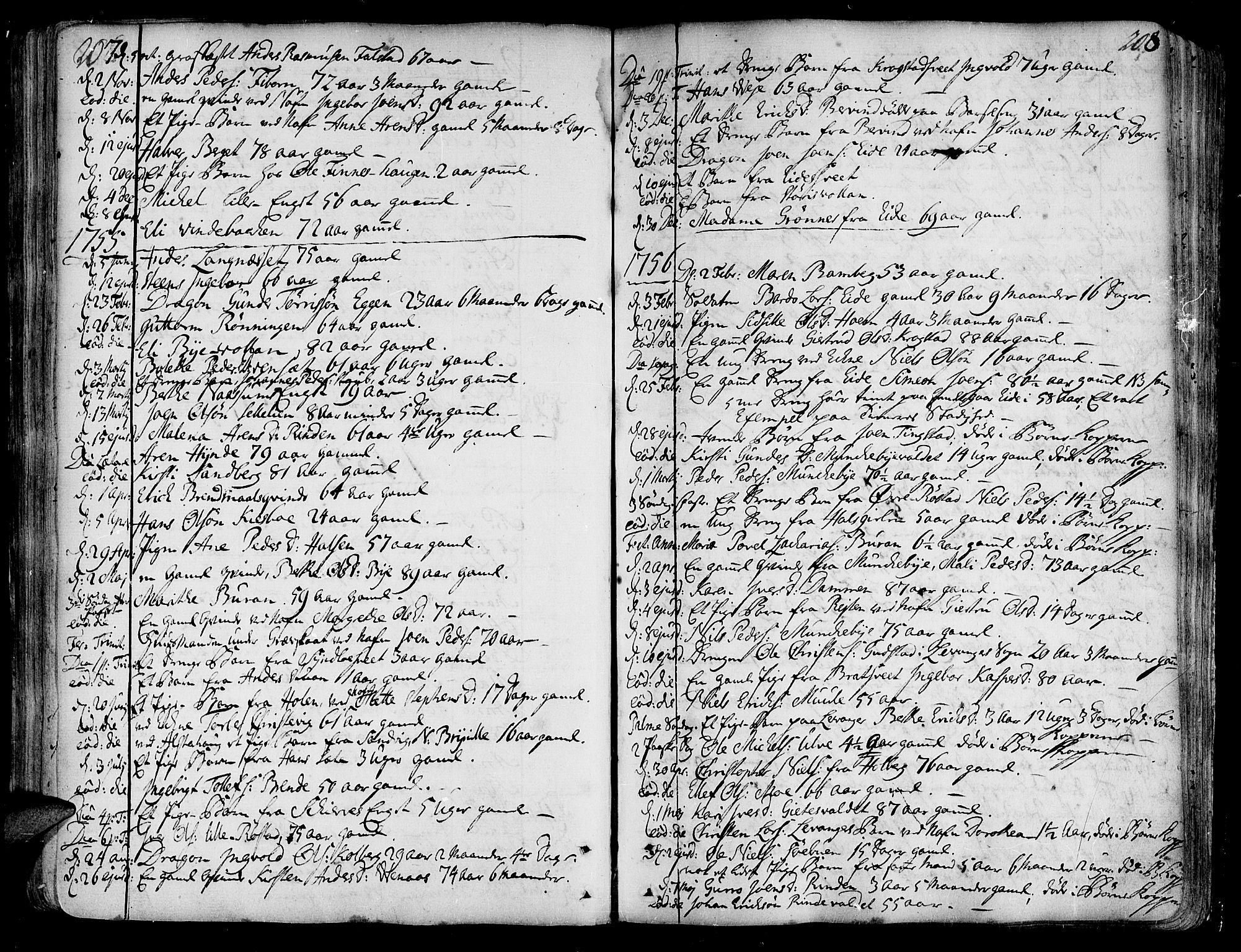 SAT, Ministerialprotokoller, klokkerbøker og fødselsregistre - Nord-Trøndelag, 717/L0141: Ministerialbok nr. 717A01, 1747-1803, s. 207-208