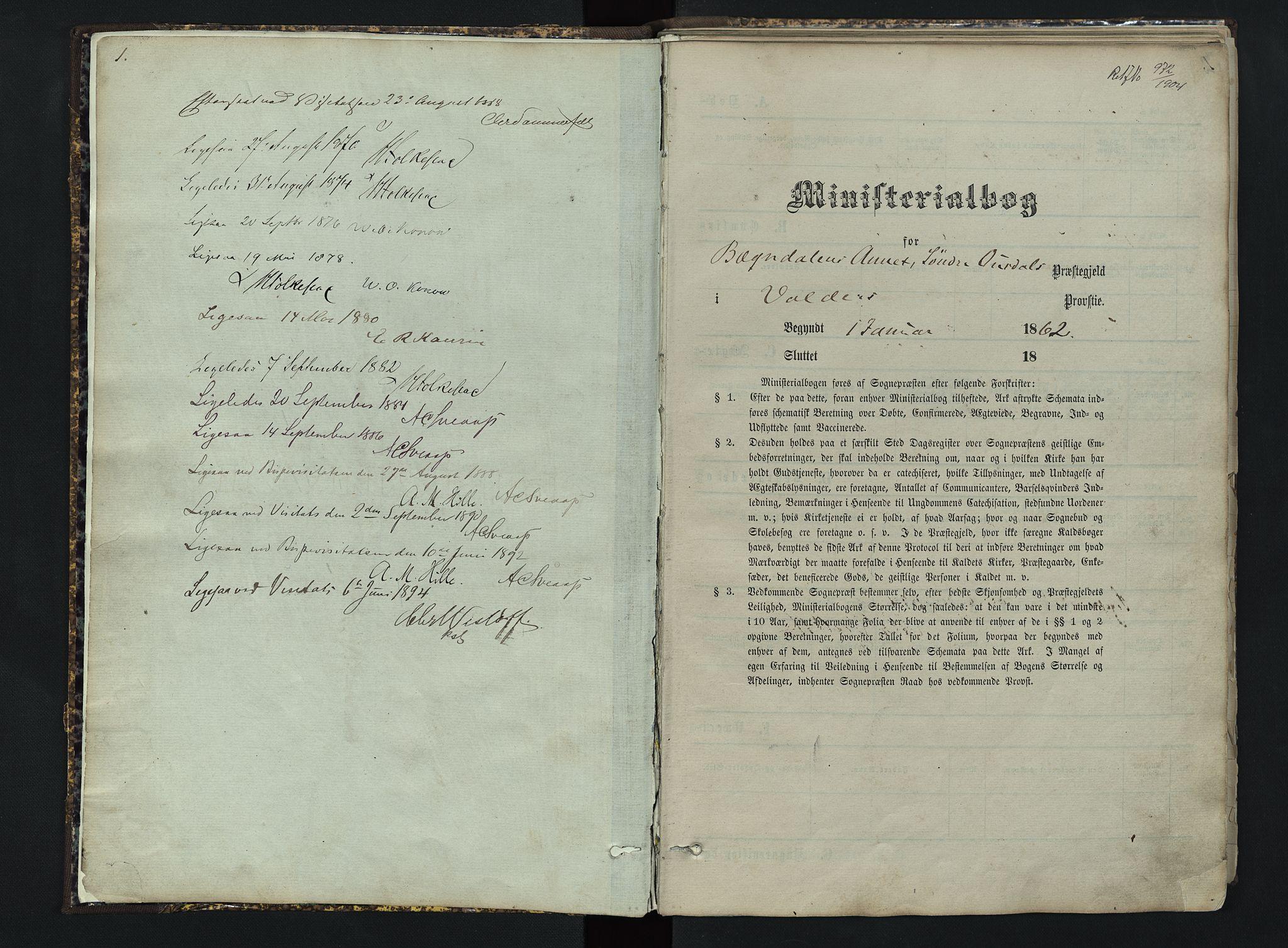 SAH, Sør-Aurdal prestekontor, Klokkerbok nr. 3, 1862-1893, s. 1