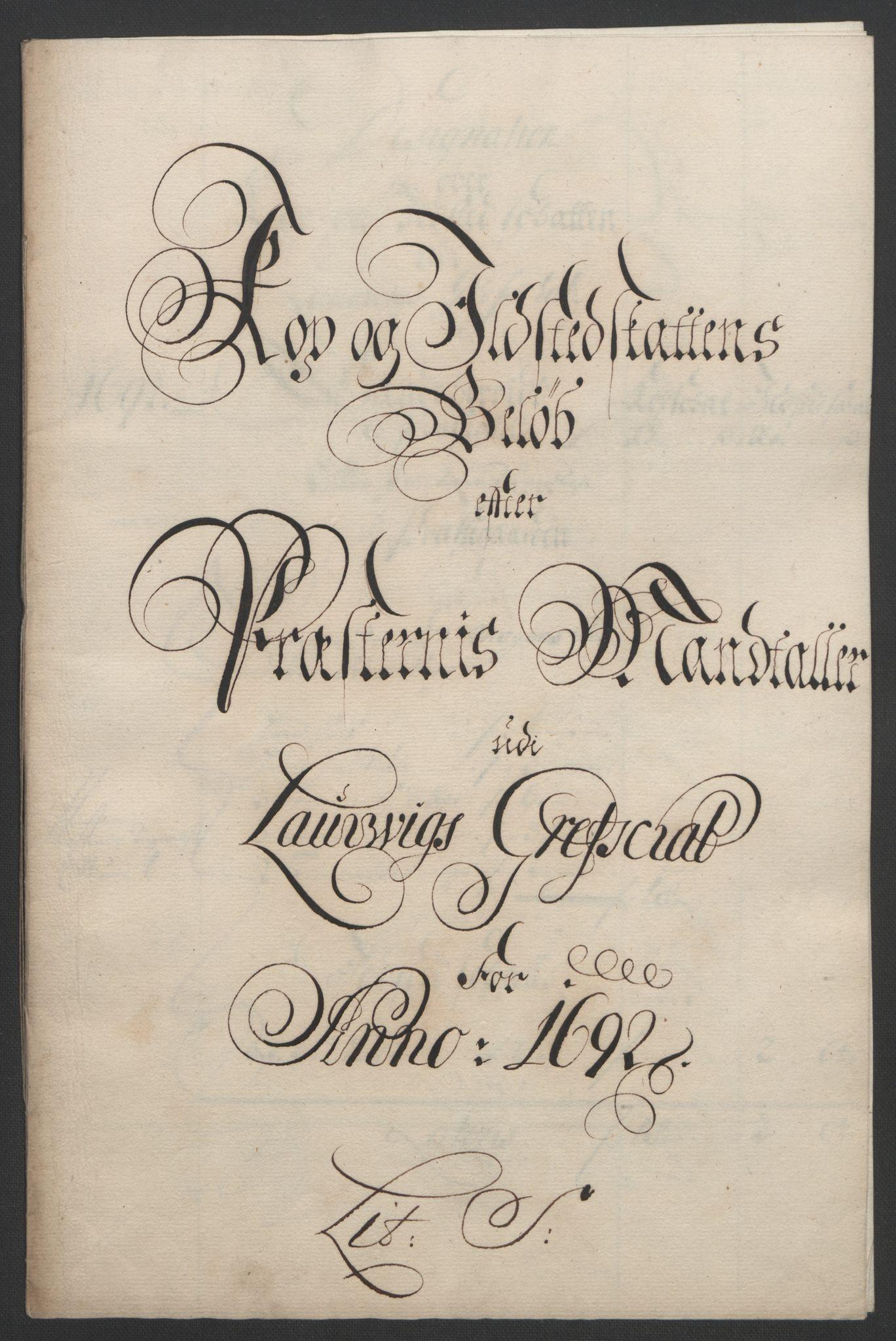 RA, Rentekammeret inntil 1814, Reviderte regnskaper, Fogderegnskap, R33/L1973: Fogderegnskap Larvik grevskap, 1692, s. 126