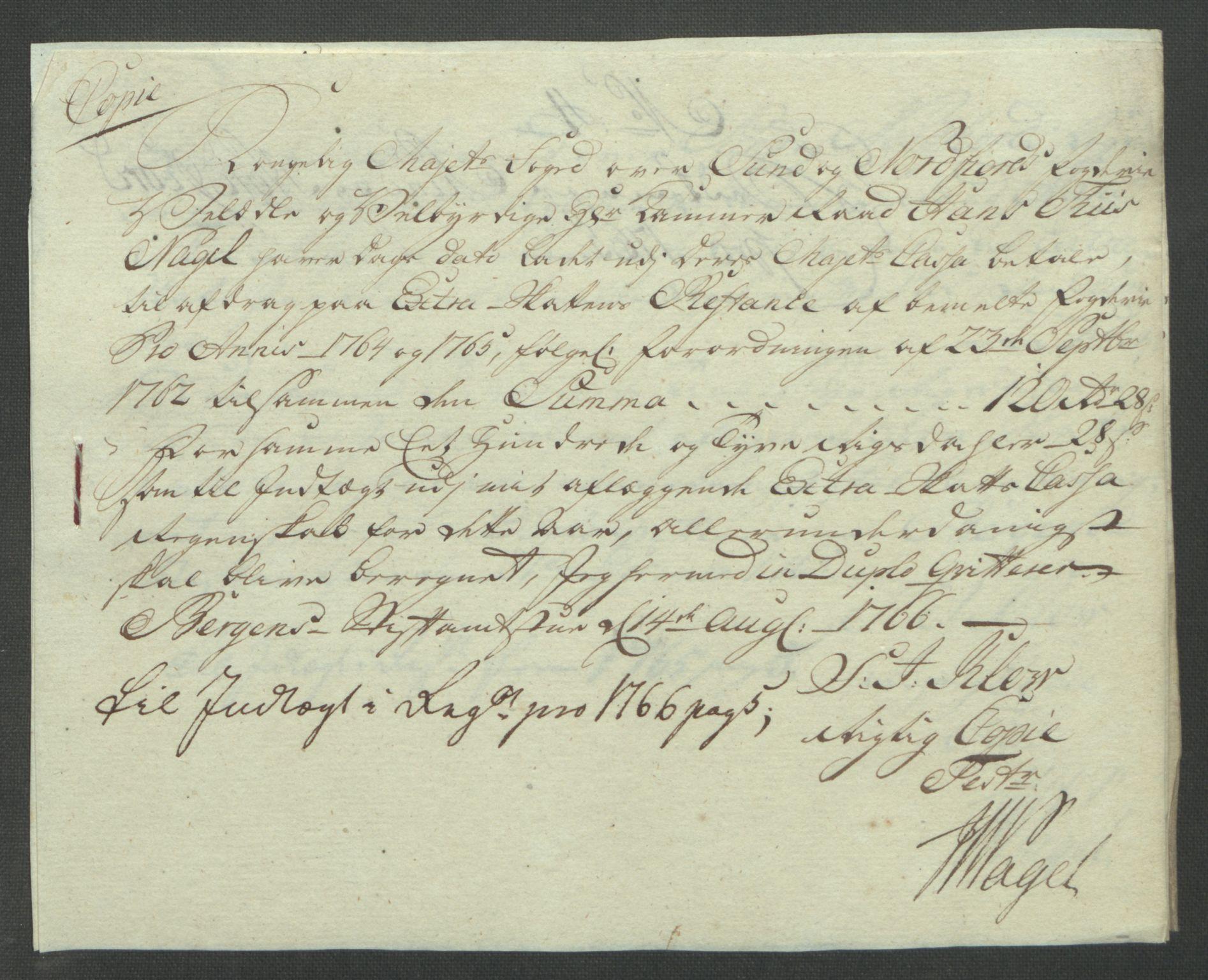 RA, Rentekammeret inntil 1814, Reviderte regnskaper, Fogderegnskap, R53/L3550: Ekstraskatten Sunn- og Nordfjord, 1762-1771, s. 152