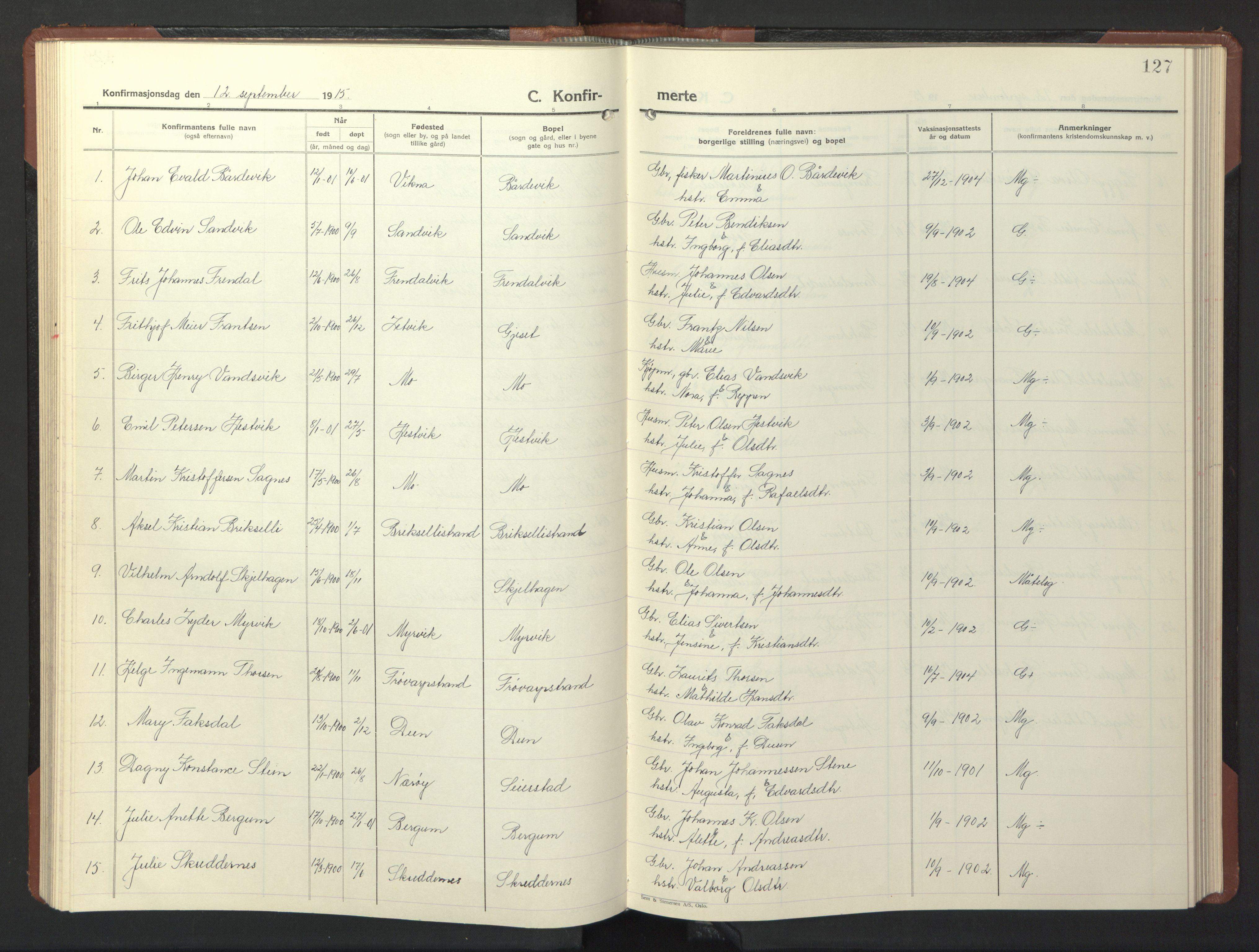 SAT, Ministerialprotokoller, klokkerbøker og fødselsregistre - Nord-Trøndelag, 773/L0625: Klokkerbok nr. 773C01, 1910-1952, s. 127