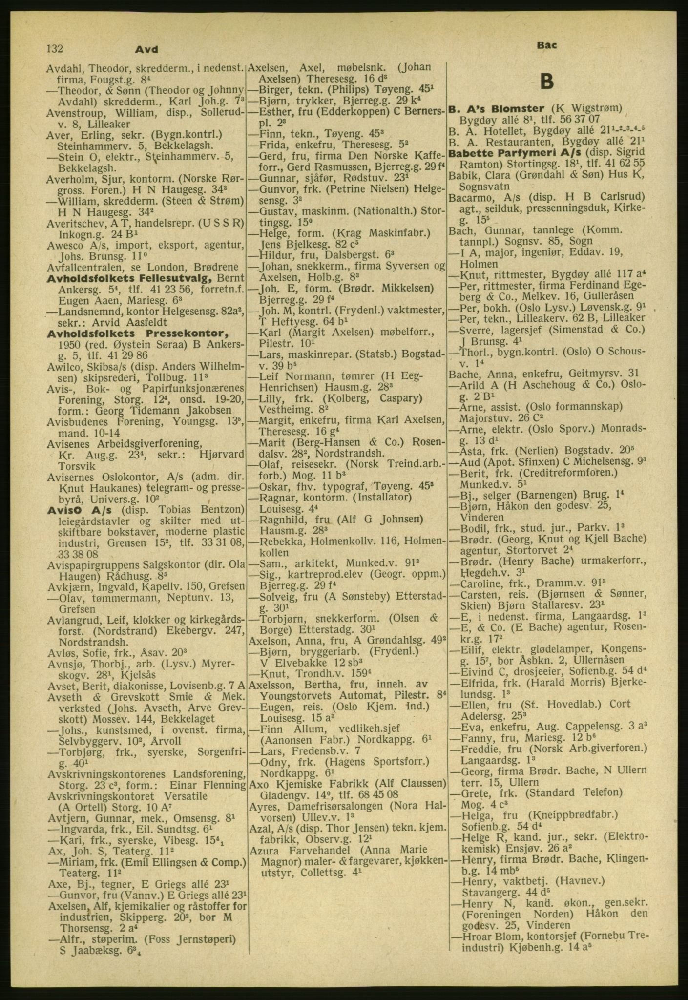 PUBL, Kristiania/Oslo adressebok, 1954, s. 132