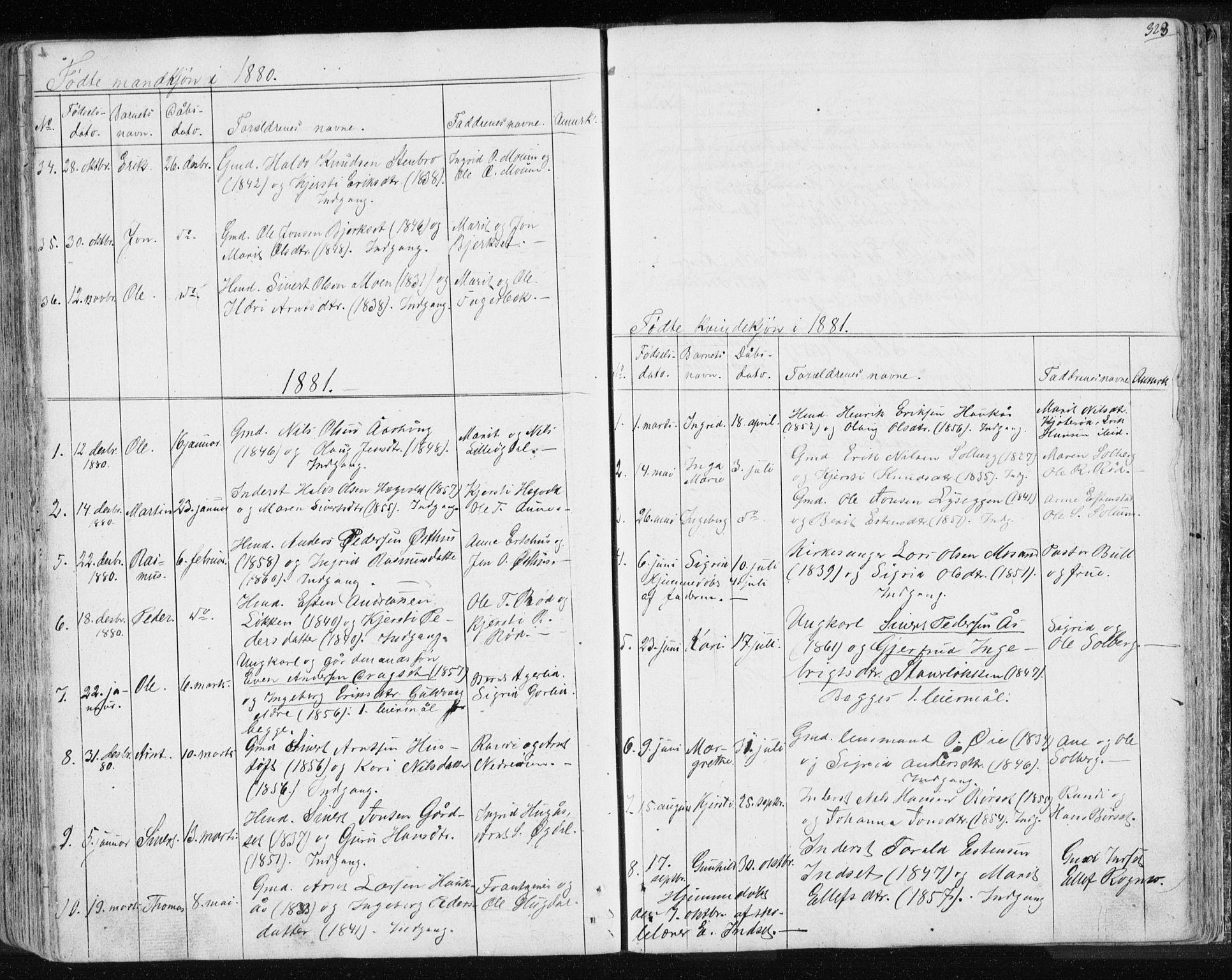 SAT, Ministerialprotokoller, klokkerbøker og fødselsregistre - Sør-Trøndelag, 689/L1043: Klokkerbok nr. 689C02, 1816-1892, s. 323