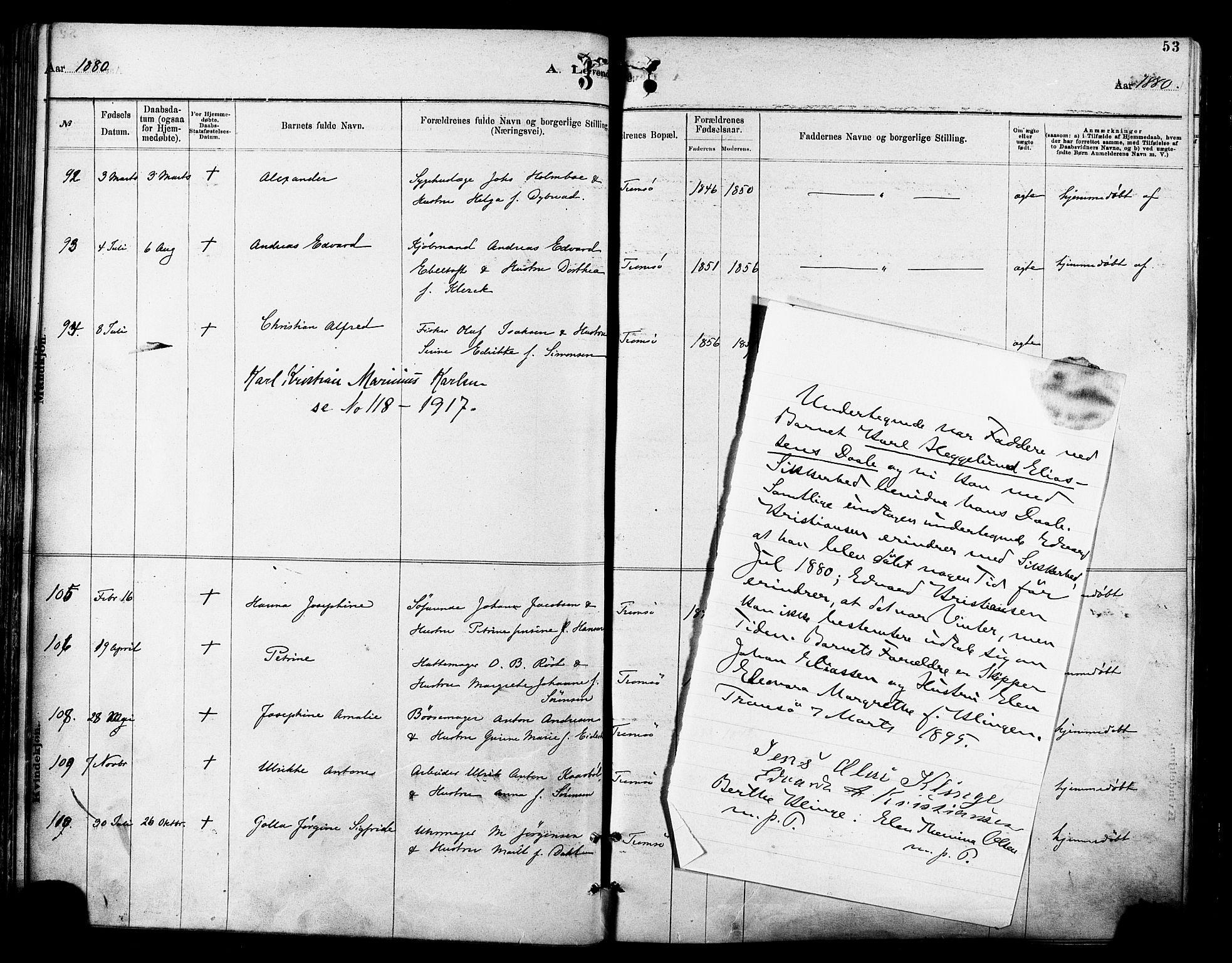 SATØ, Tromsø sokneprestkontor/stiftsprosti/domprosti, G/Ga/L0014kirke: Ministerialbok nr. 14, 1878-1888, s. 53