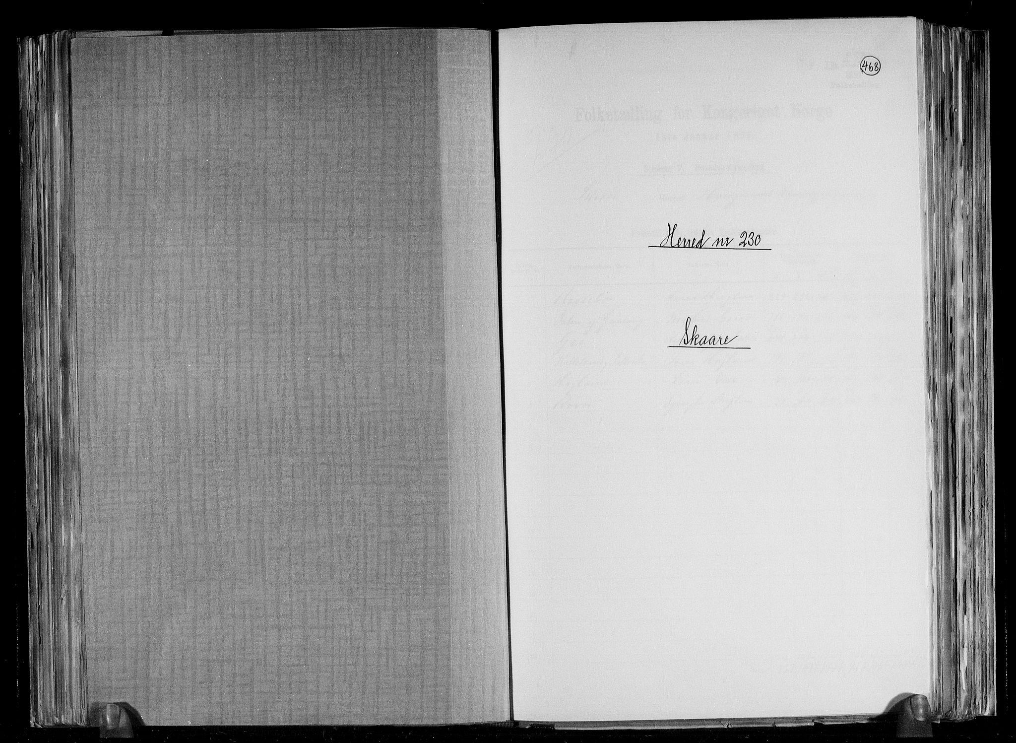 RA, Folketelling 1891 for 1153 Skåre herred, 1891, s. 1