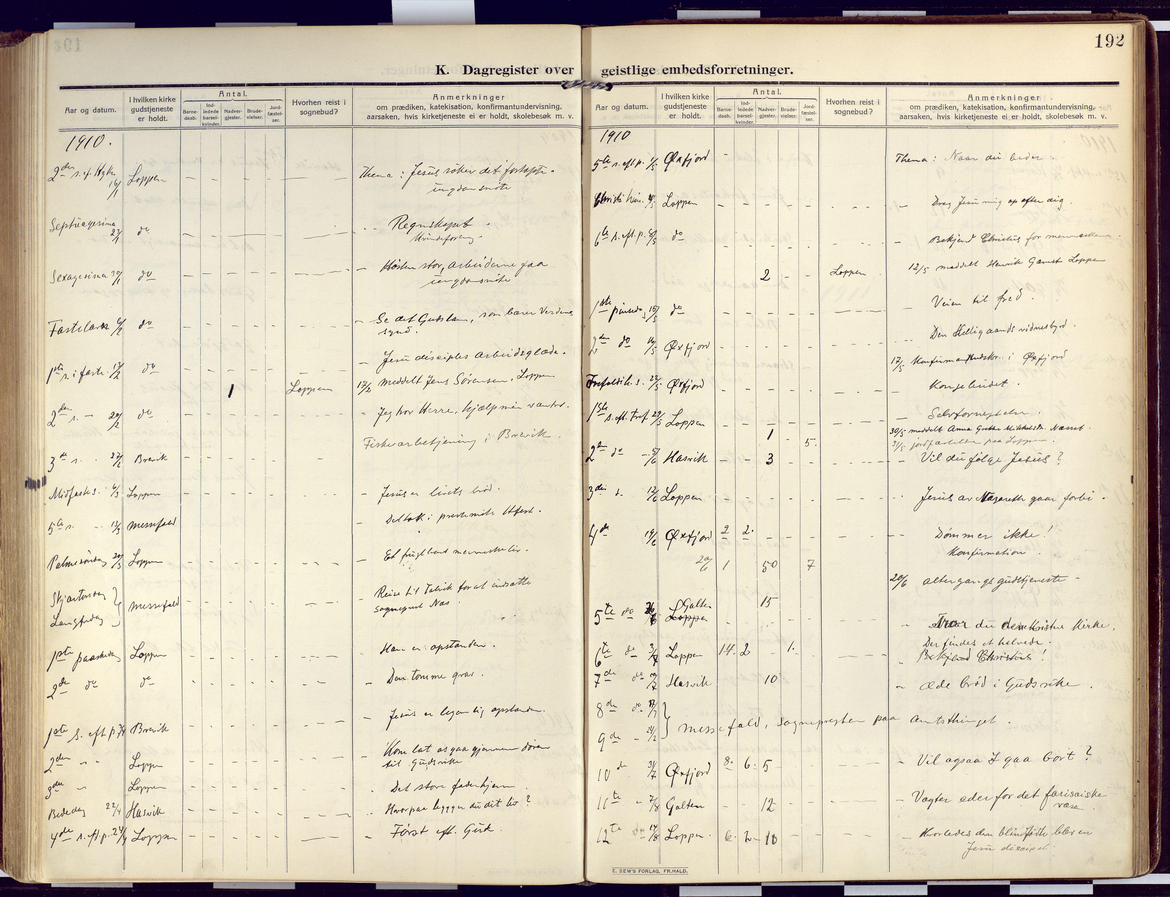 SATØ, Loppa sokneprestkontor, H/Ha/L0011kirke: Ministerialbok nr. 11, 1909-1919, s. 192